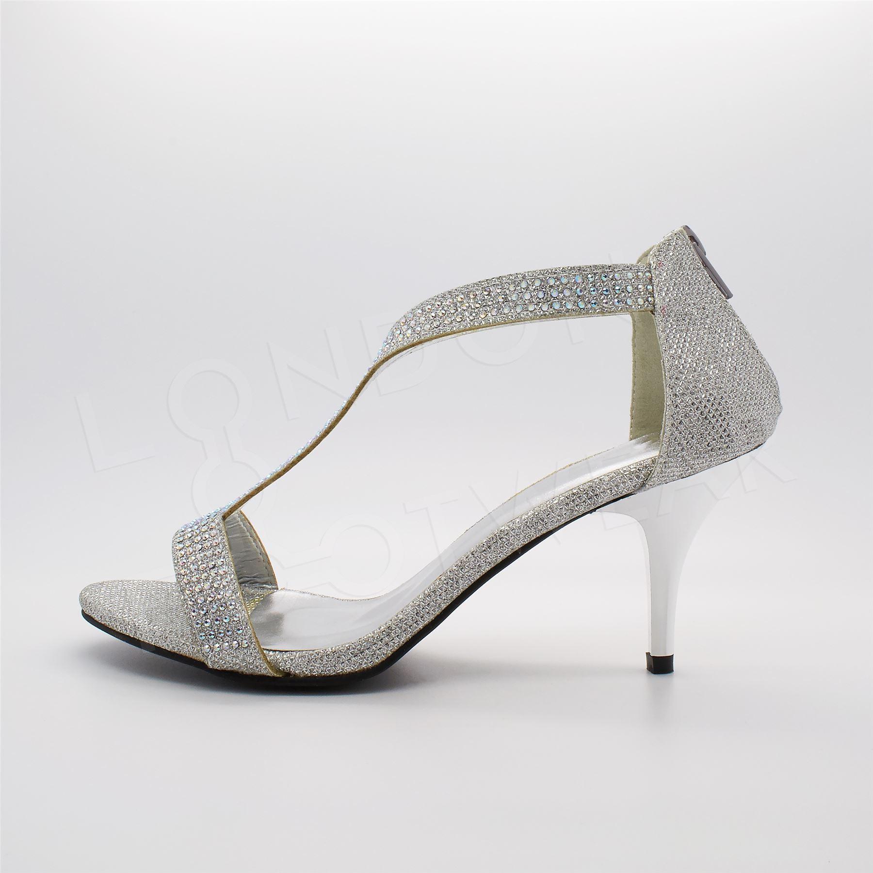 Womens Low Mid Heel Bridal Party Shoes Ladies Diamante