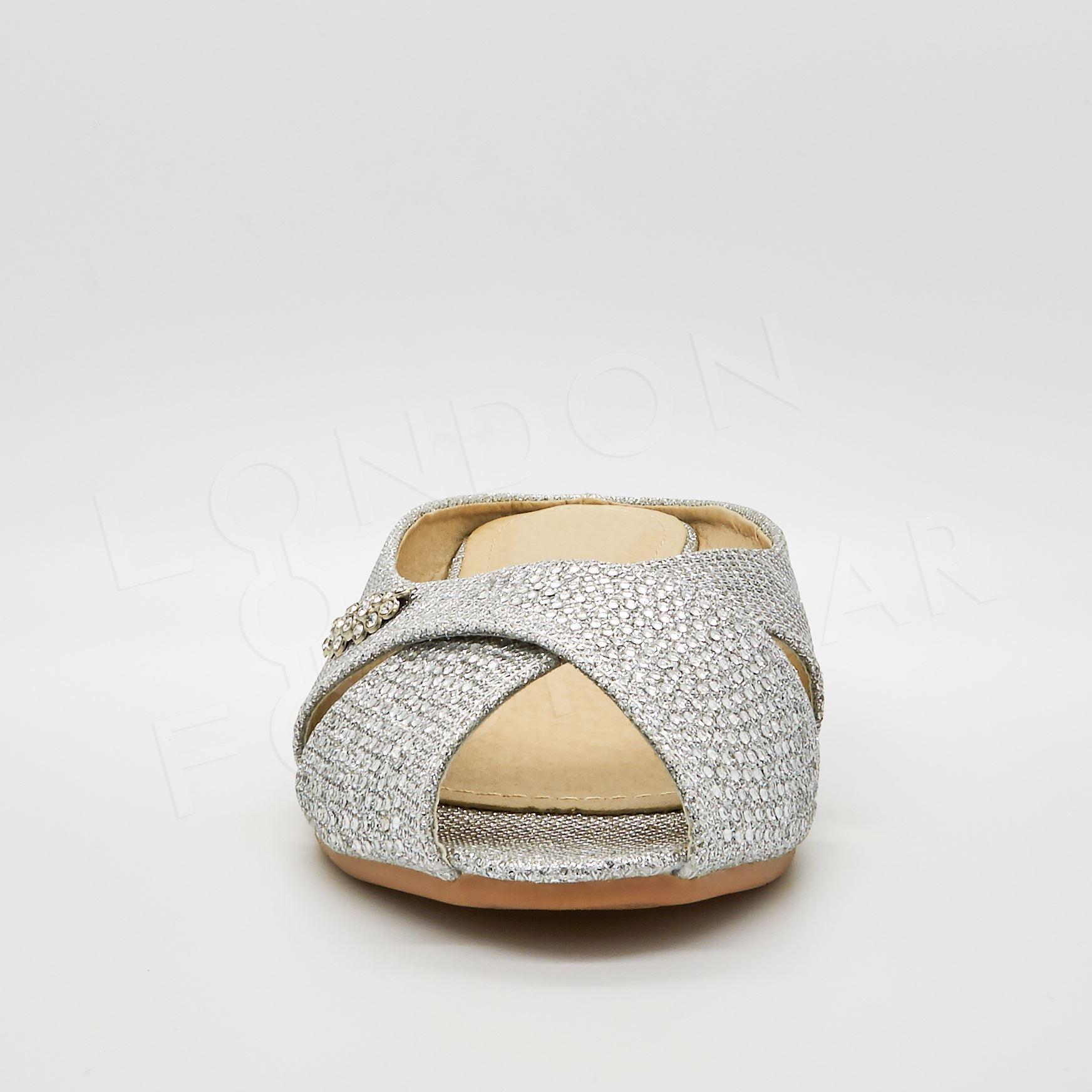 e8972f8bfd6 New Girls Diamante Glitter Ballet Pumps Peep Toe Ballerina Flat ...