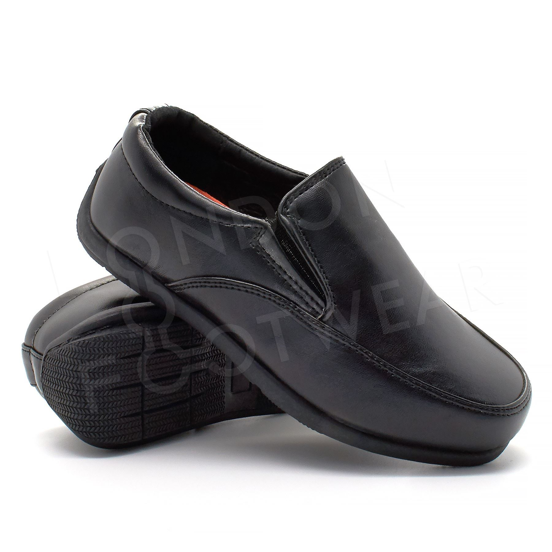 New Boys Formal Black Faux Leather Slip On Shoes Smart Party Wedding School UK