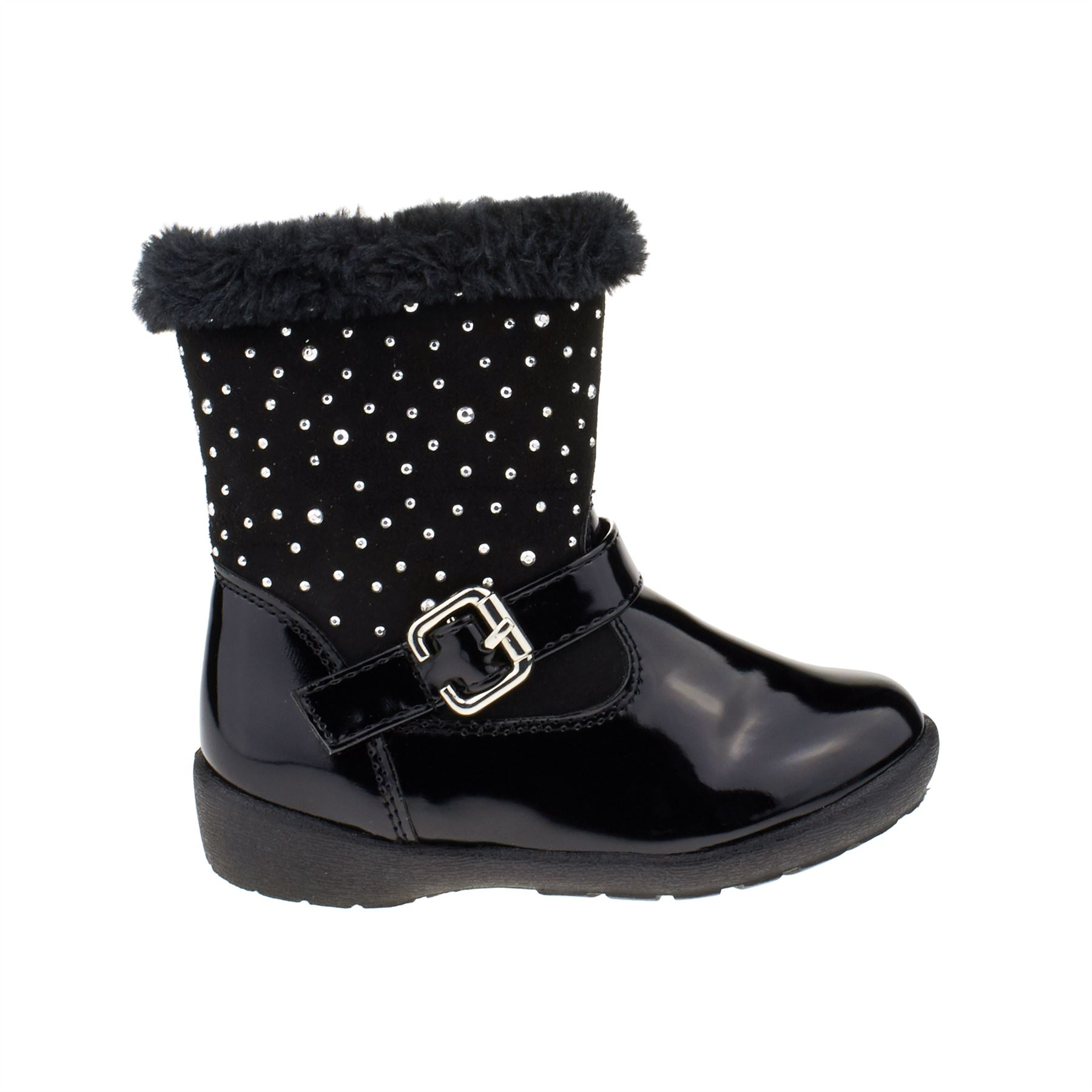 New Infants Faux Fur Kids Girls Ankle Zip Up Buckle Warm Snow Winter Boots Size