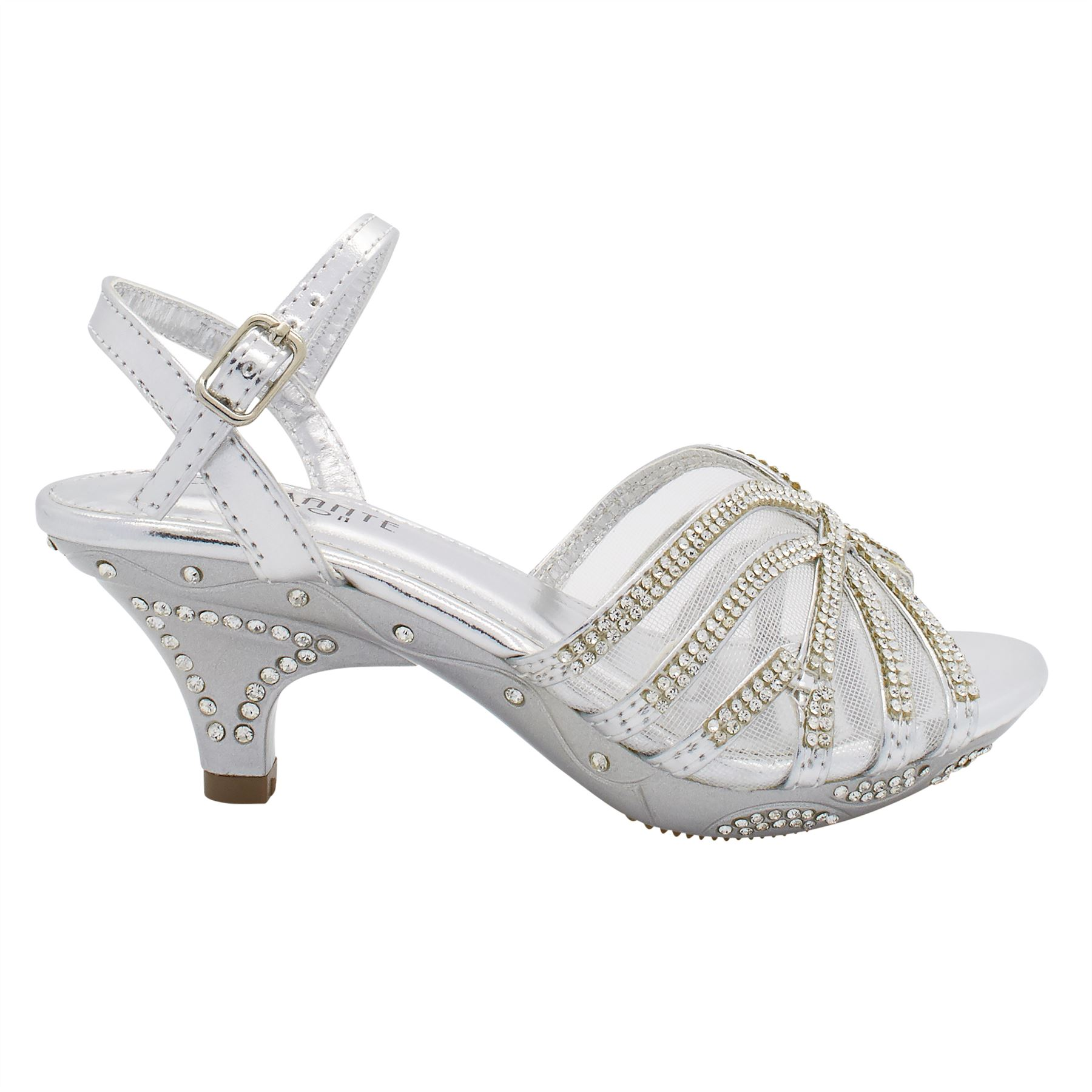 kids wedding shoes diamante bridal low kitten heel shoes childrens 5311