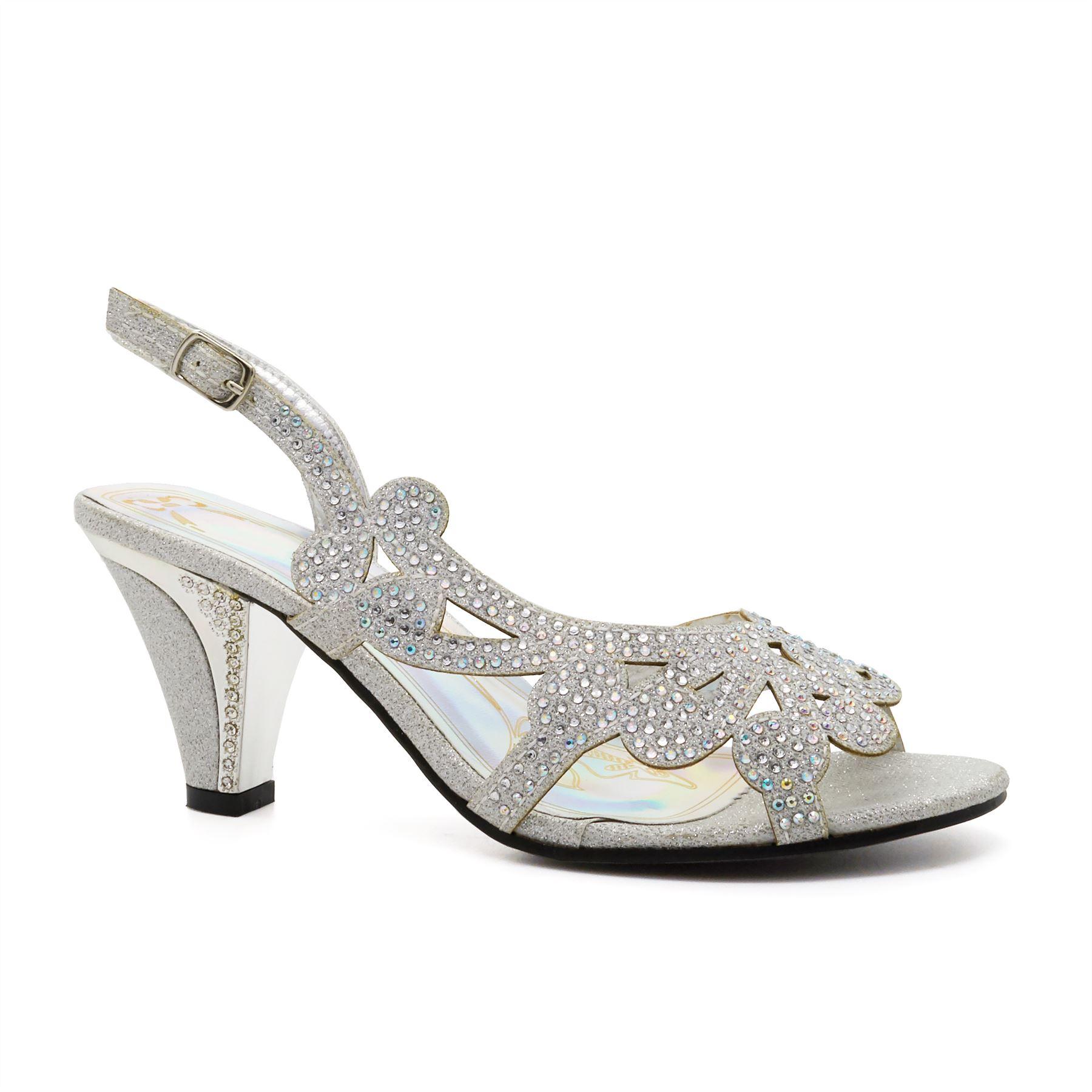 New Ladies Low Mid Kitten Heel Diamante Sandals Womens