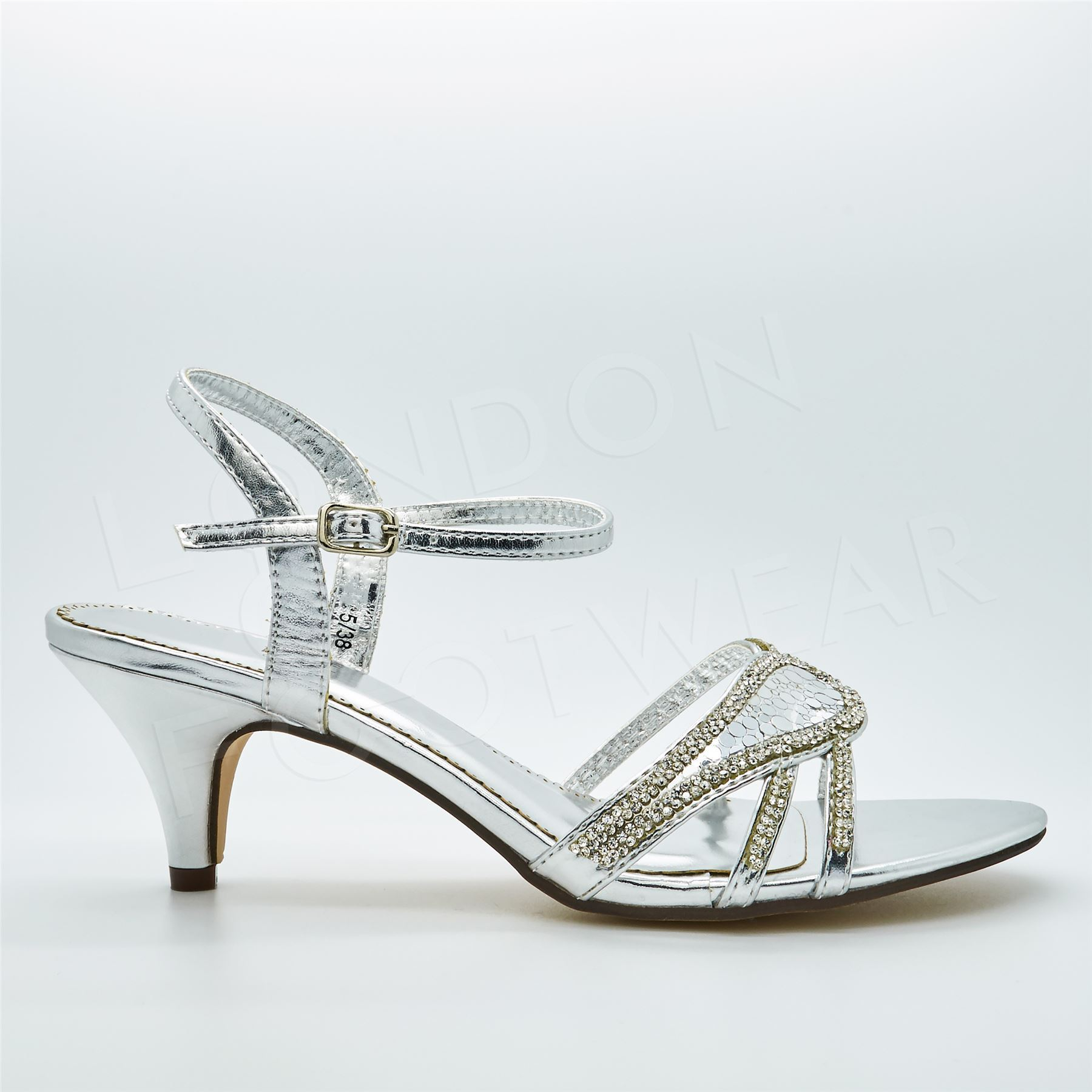 42c92ebf9e0 Womens Diamante Low Kitten HEELS Strappy Sandals Ladies Bridal ...