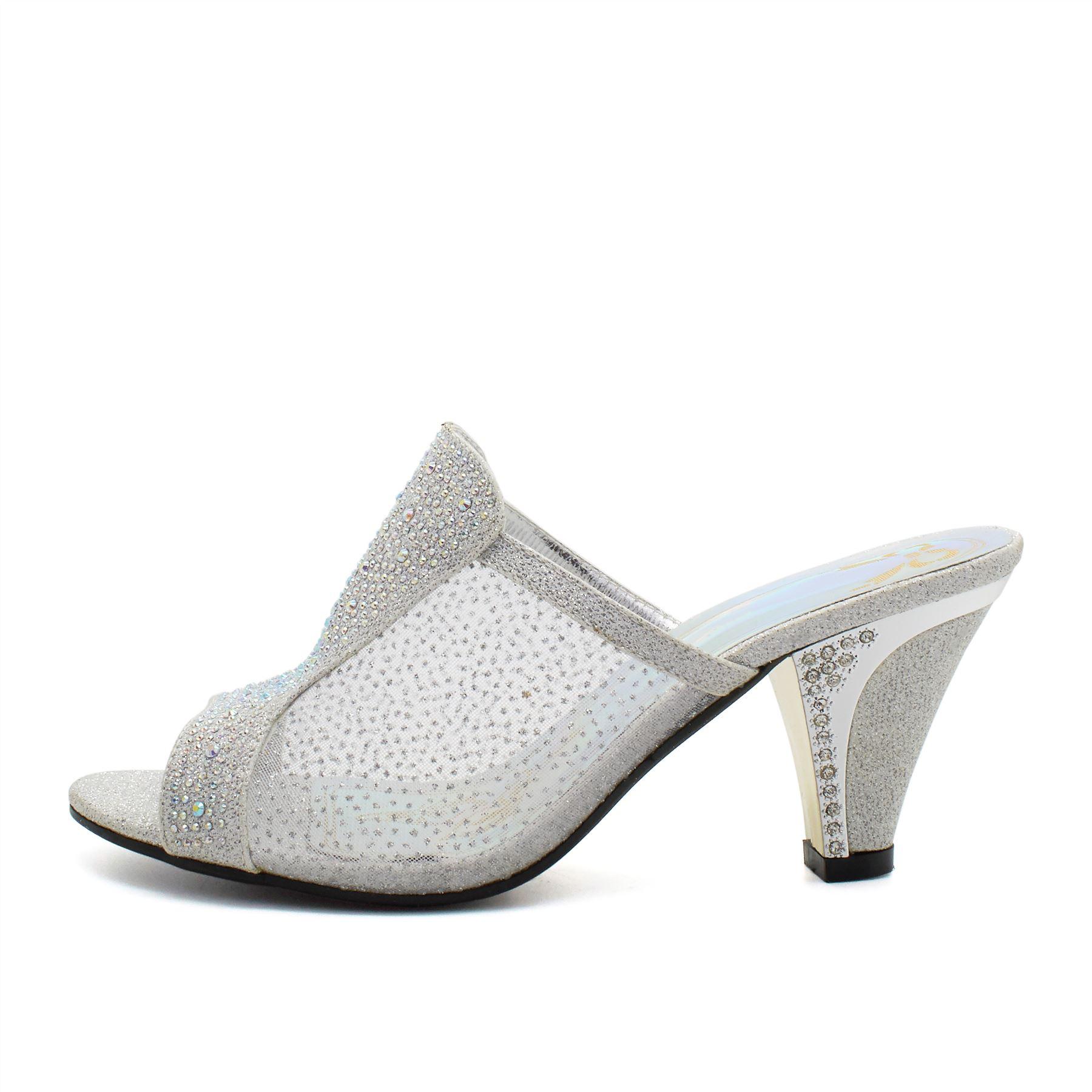 Womens Low Mid Kitten Heels Diamante Sandals Ladies Bridal