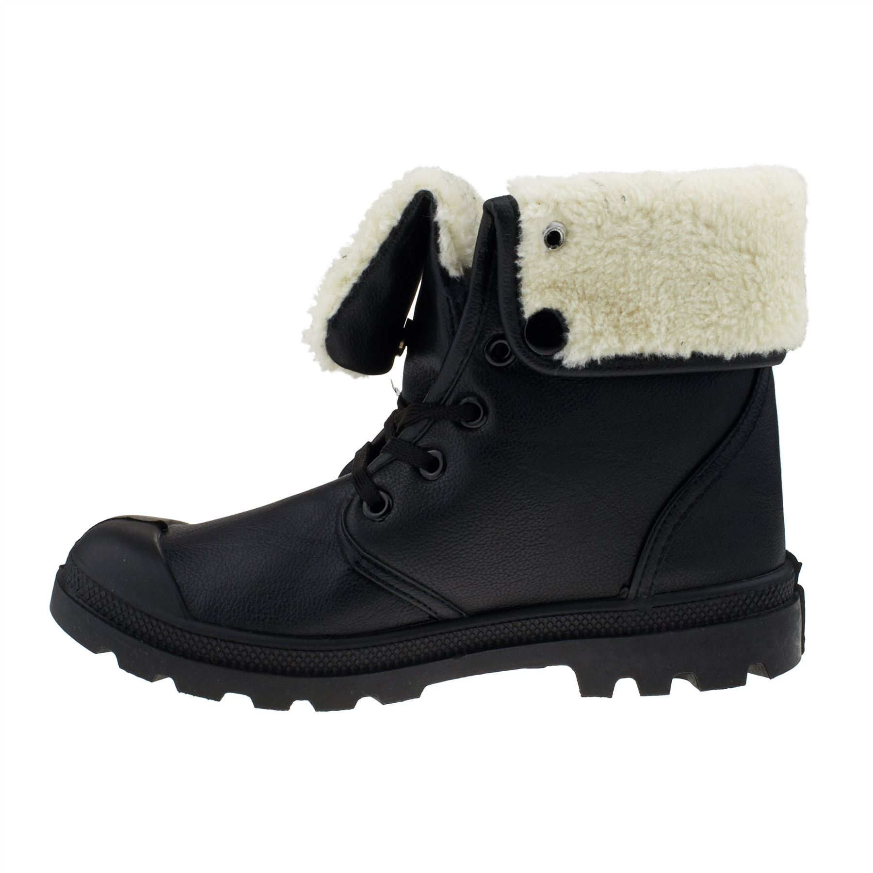 Womens Fur Lined Ankle Boots Ladies Combat Army Lace Up Shoes Winter Grip Sole