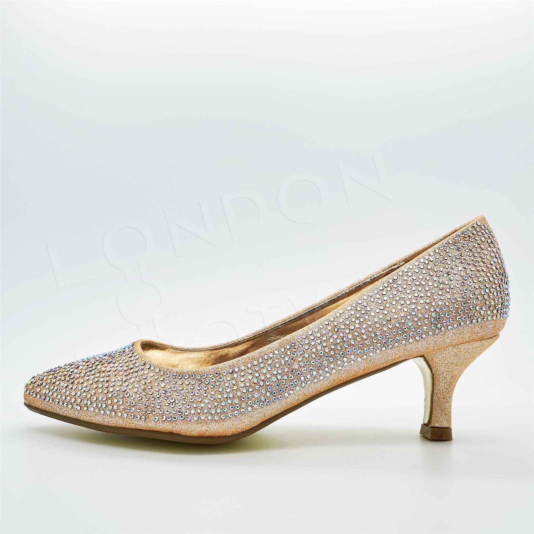 new womens low kitten heel court shoes diamante