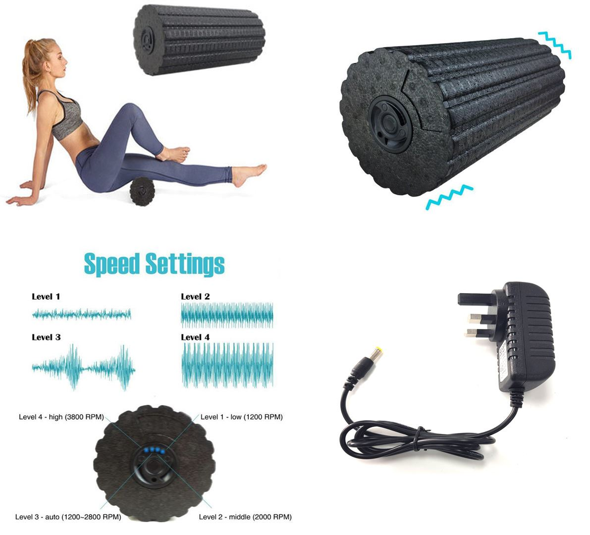 4 speed Vibrating Foam Muscle Roller Electric Exercise Massage Yoga Body Fitness