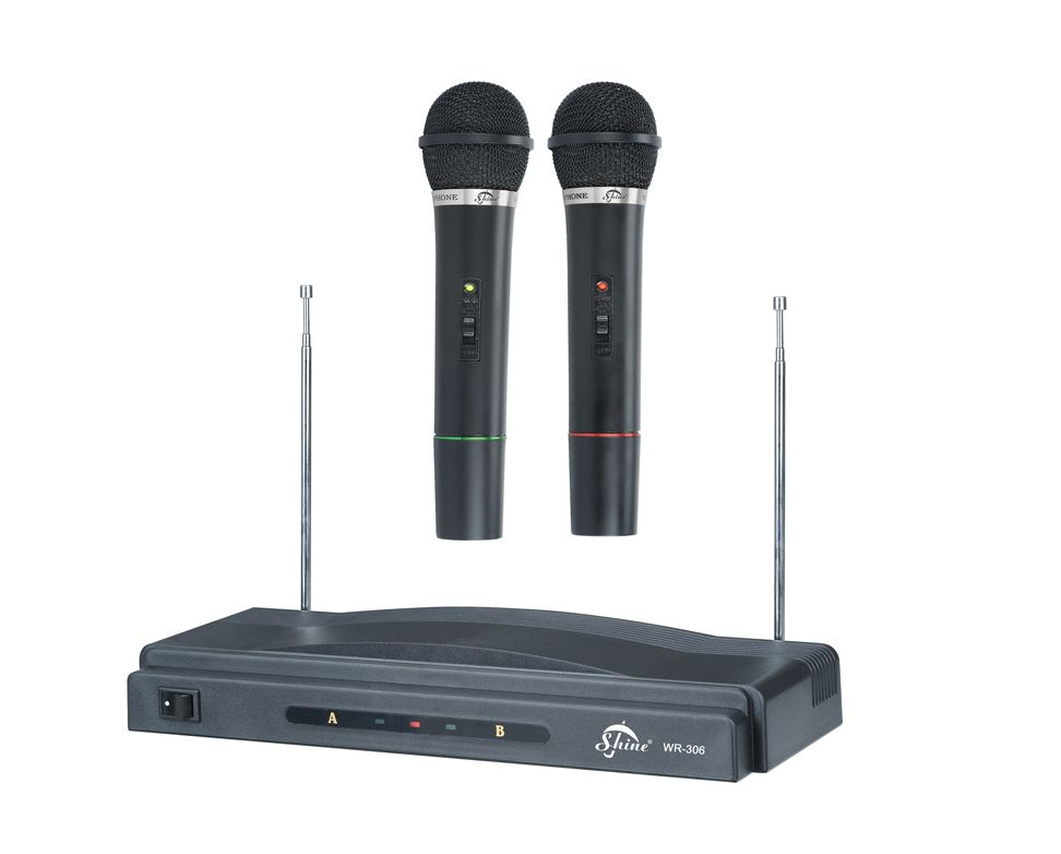pro dual karaoke mic microphone wireless professional dj mic singing speeches ebay. Black Bedroom Furniture Sets. Home Design Ideas