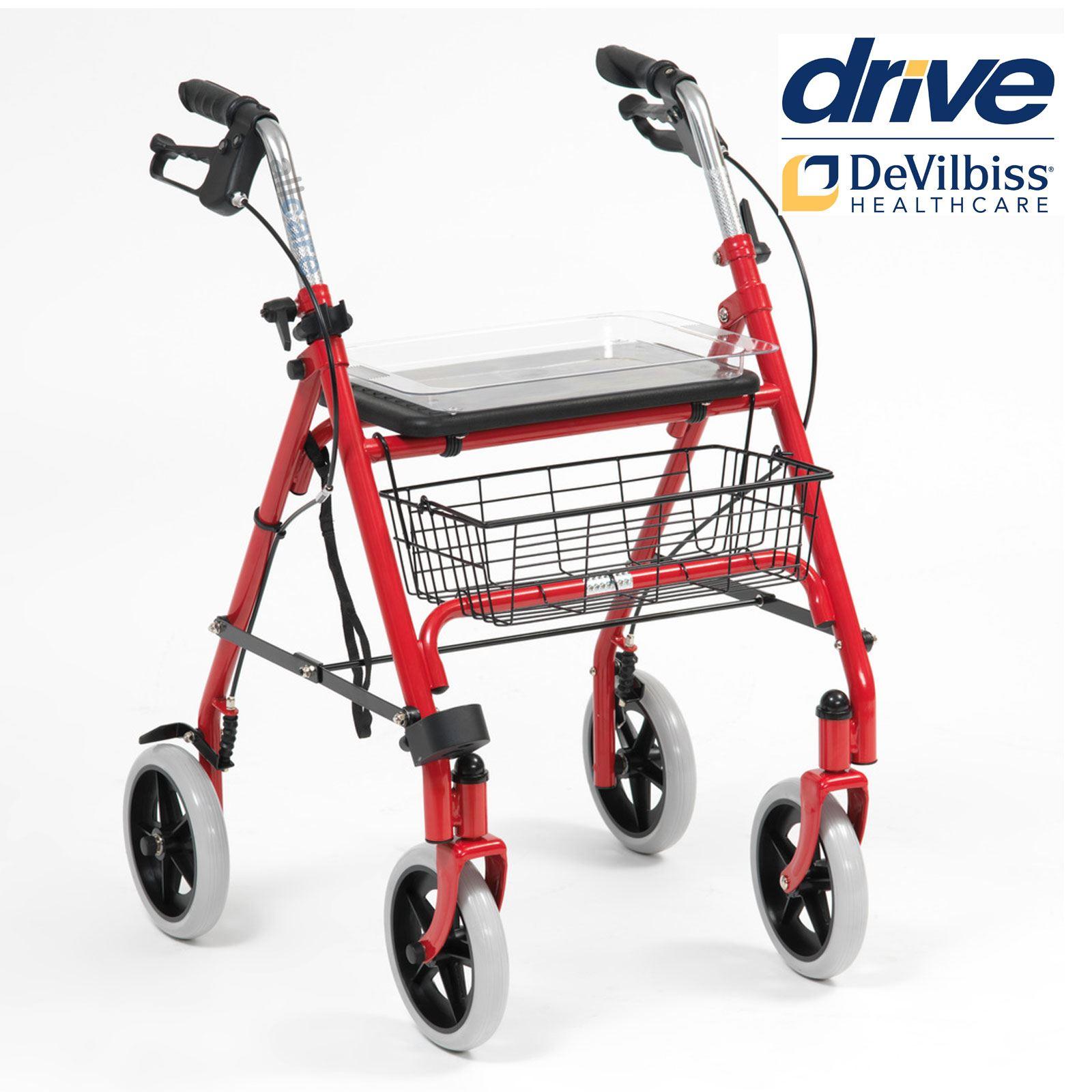 Folding 4 Wheel Walker Rollator and Seat Walking Frame Disability ...