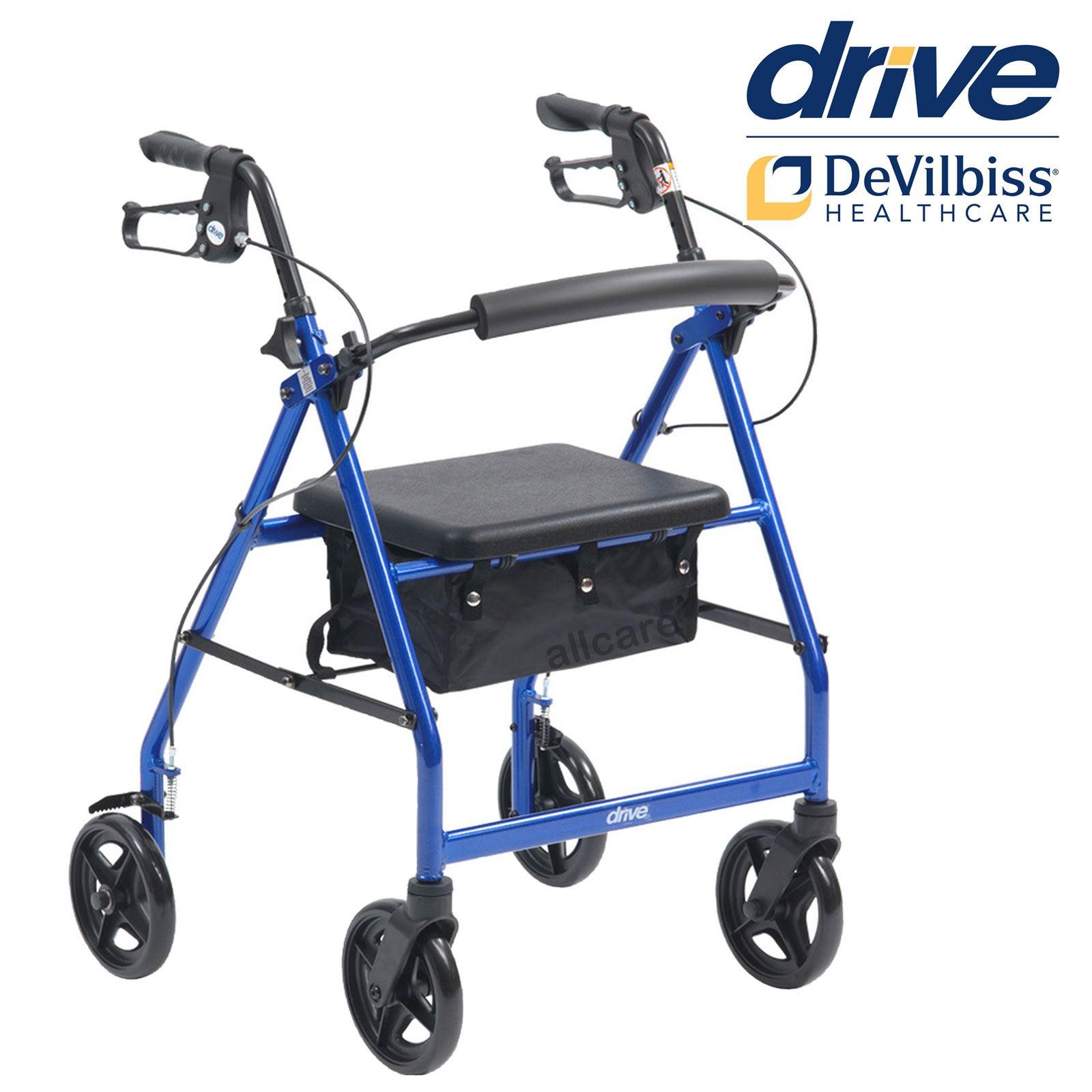 Drive R6 Lightweight Rollator 4 Wheel Walker Mobility Walking Zimmer ...