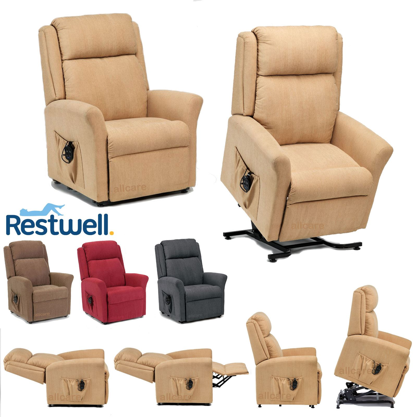 Details about Restwell Memphis Fabric Electric Riser Recliner Chair Dual Motor Mobility Lift