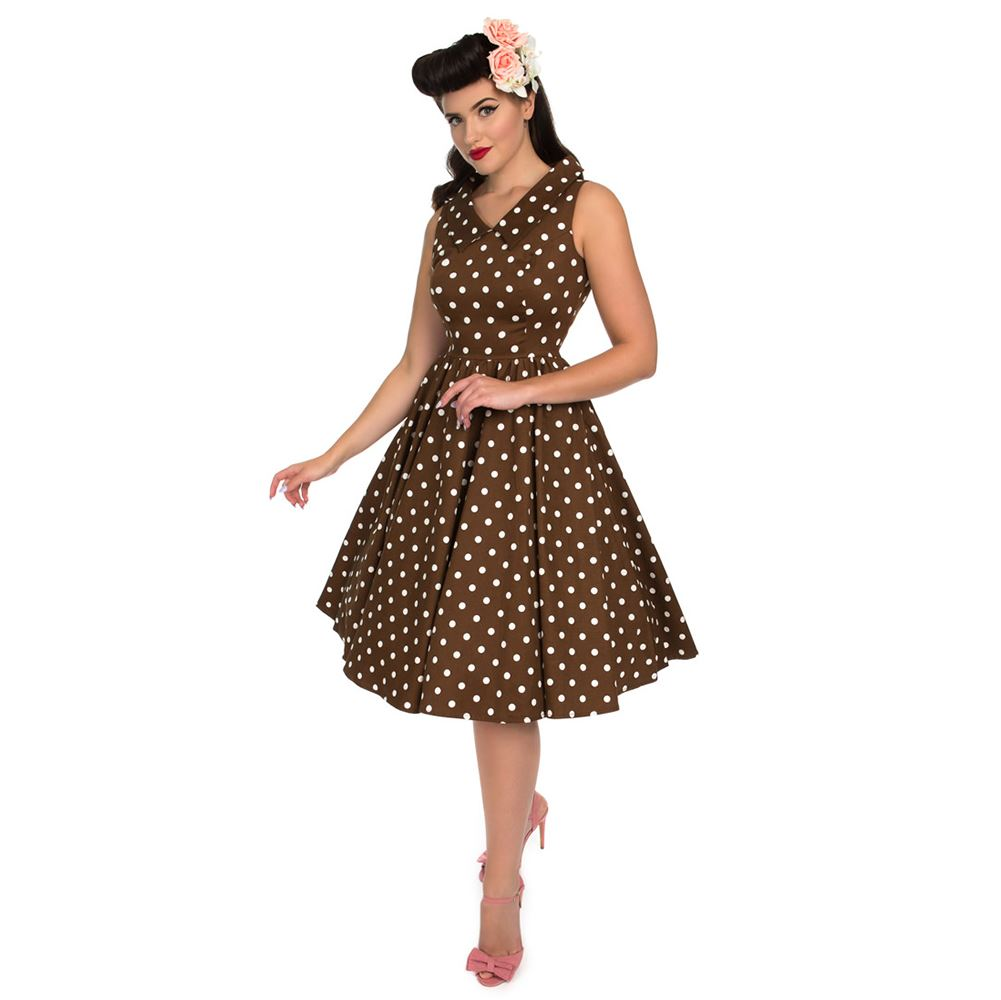51d0cf261d12b0 Details about Ravishing Chocolate Polka Dot Swing Dress
