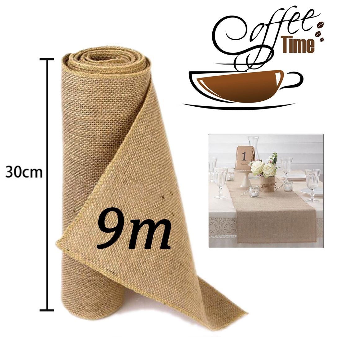 jjprime 9m hessian table runners sew edge wedding vintage shabby chic free bag ebay. Black Bedroom Furniture Sets. Home Design Ideas