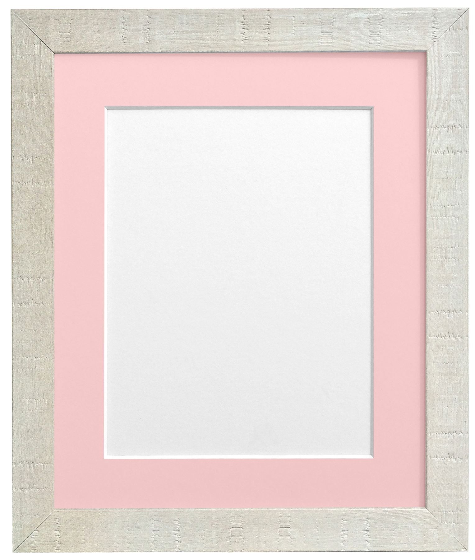 Deep Grain off White Picture Photo Frame With Mounts Pink Mount ...