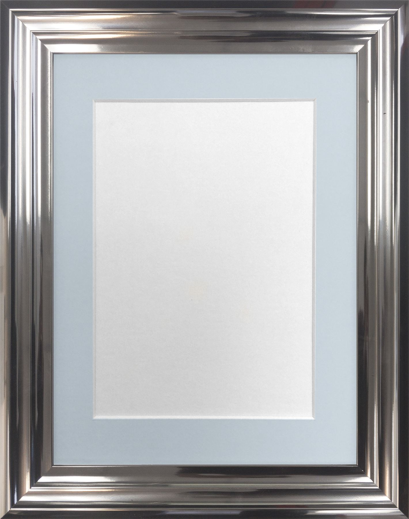 Firenza Bright Silver Picture Photo Frame With Coloured Mounts Blue ...