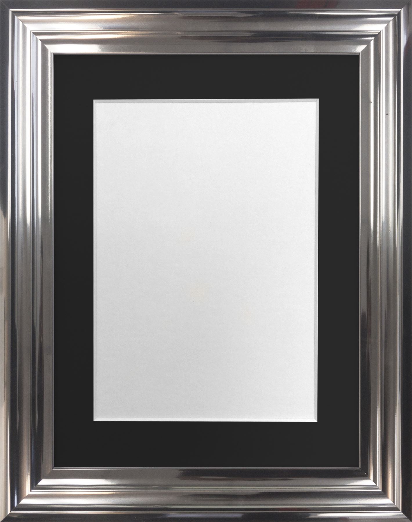 Firenza Bright Silver Picture Photo Frame With Coloured Mounts Black ...
