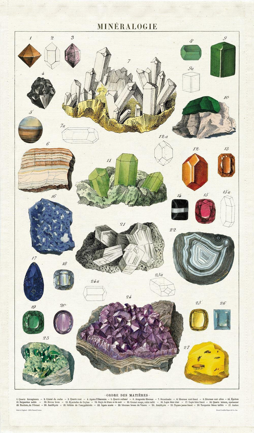 CAVALLINI 100/% coton naturel Vintage Torchon Mineralogy 80 x 47cms