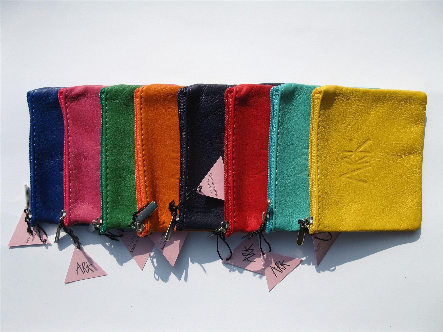 12.5x10cms Petit porte-monnaie-cuir souple pochette par ark disponible en 8 couleurs