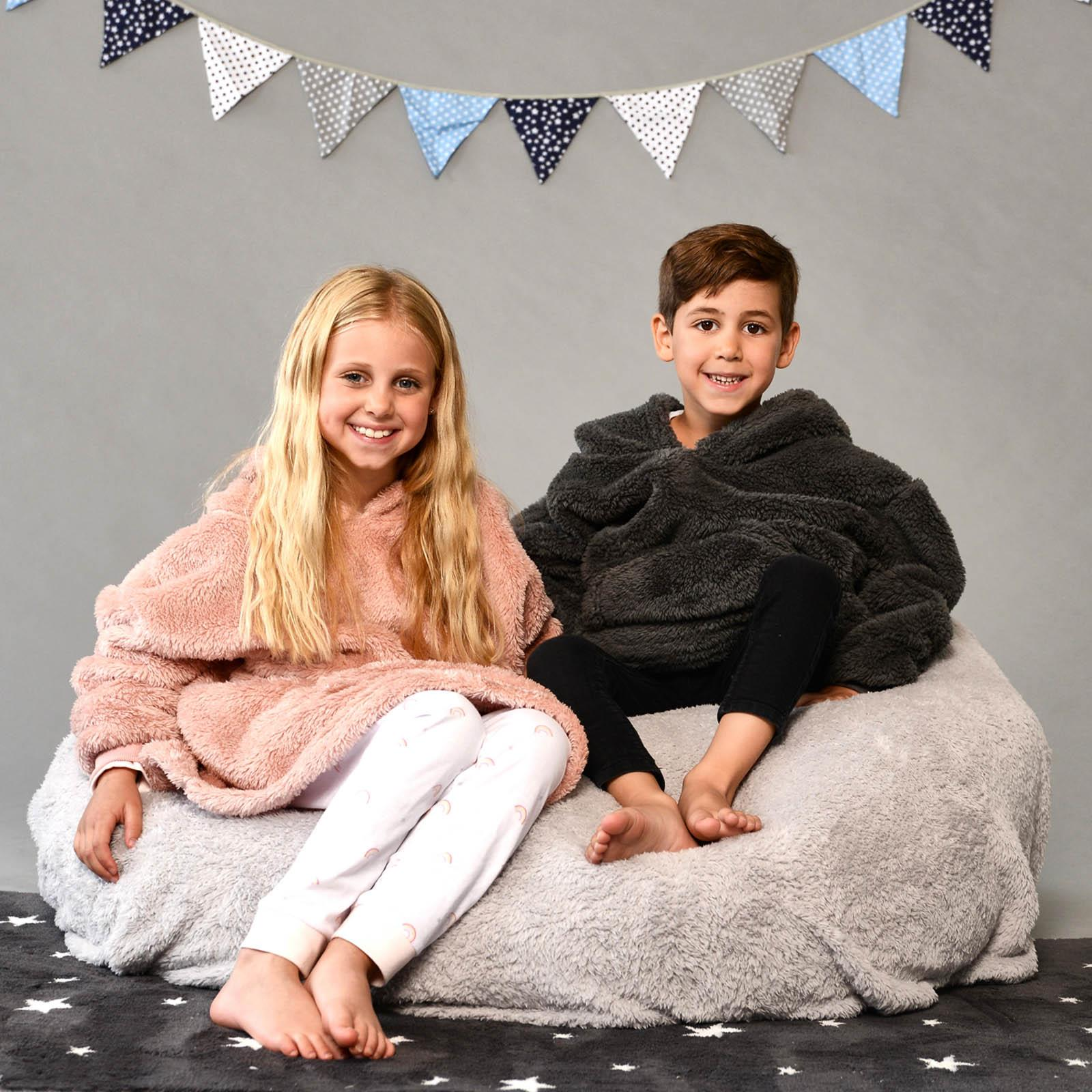 thumbnail 18 - Brentfords-Teddy-Fleece-Hoodie-Blanket-Oversized-Giant-Wearable-Adults-Kids-UK