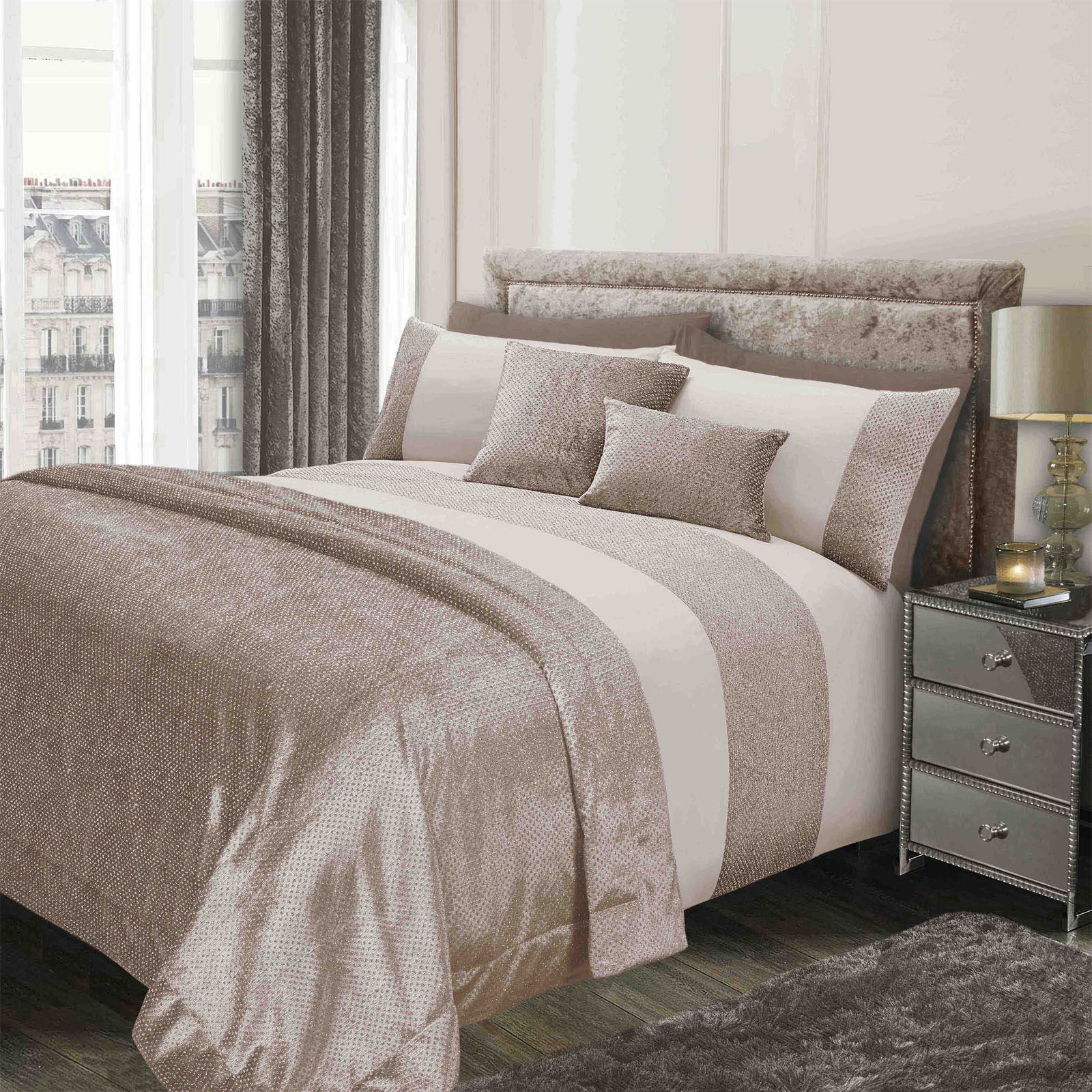 Sienna-Glitter-Duvet-Cover-with-Pillow-Case-Sparkle-Velvet-Bedding-Set-Grey-Pink thumbnail 10