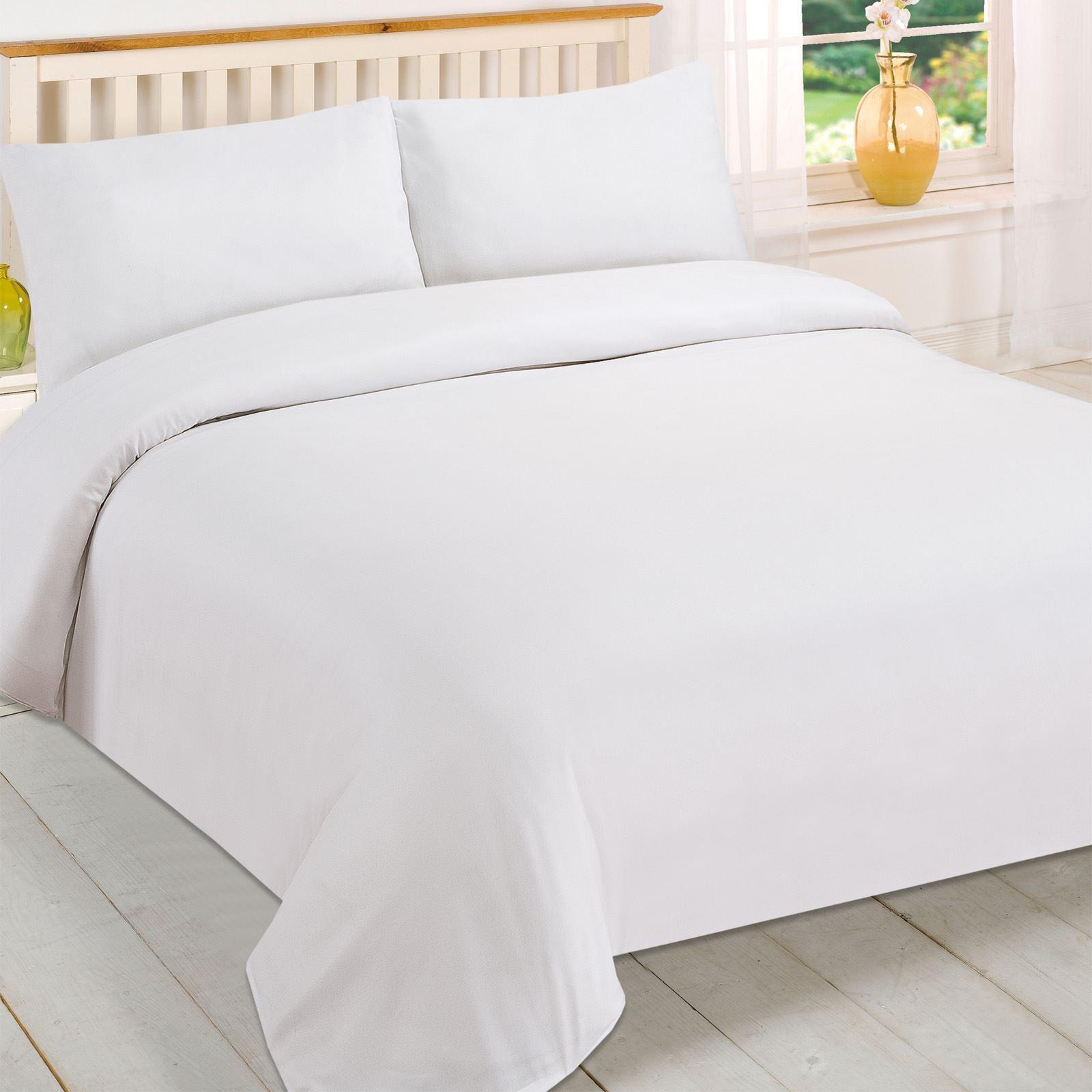 Brentfords Plain White Duvet Cover And Pillowcase Bedding Set Single Double King Ebay