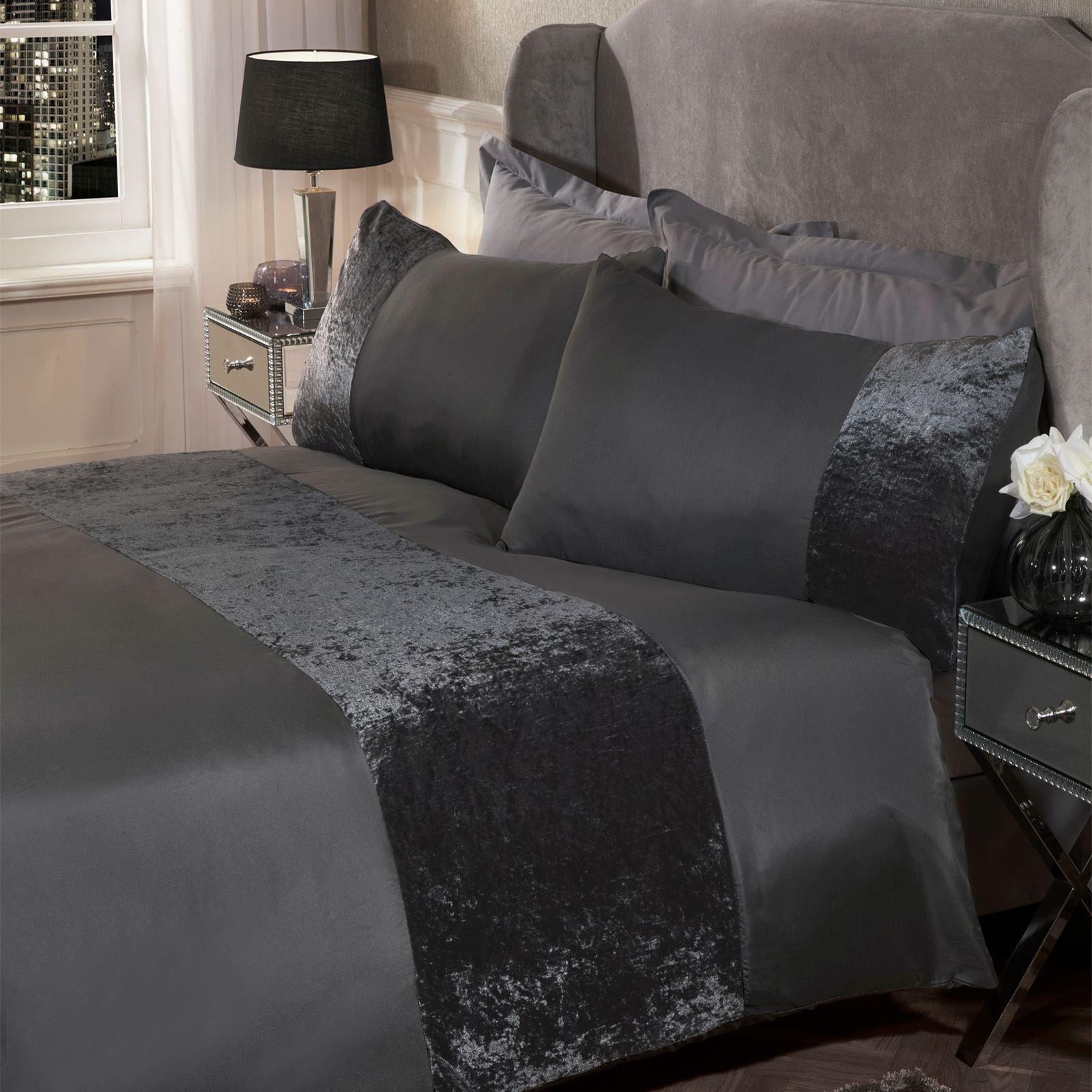 thumbnail 18 - Sienna Crushed Velvet Panel Duvet Cover with Pillow Case Bedding Set Silver Grey