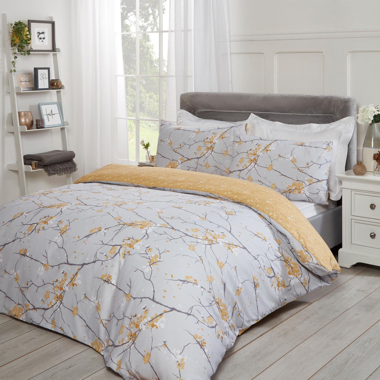 thumbnail 20 - Dreamscene Spring Blossoms Duvet Cover with Pillowcases Bedding Set Blush Ochre