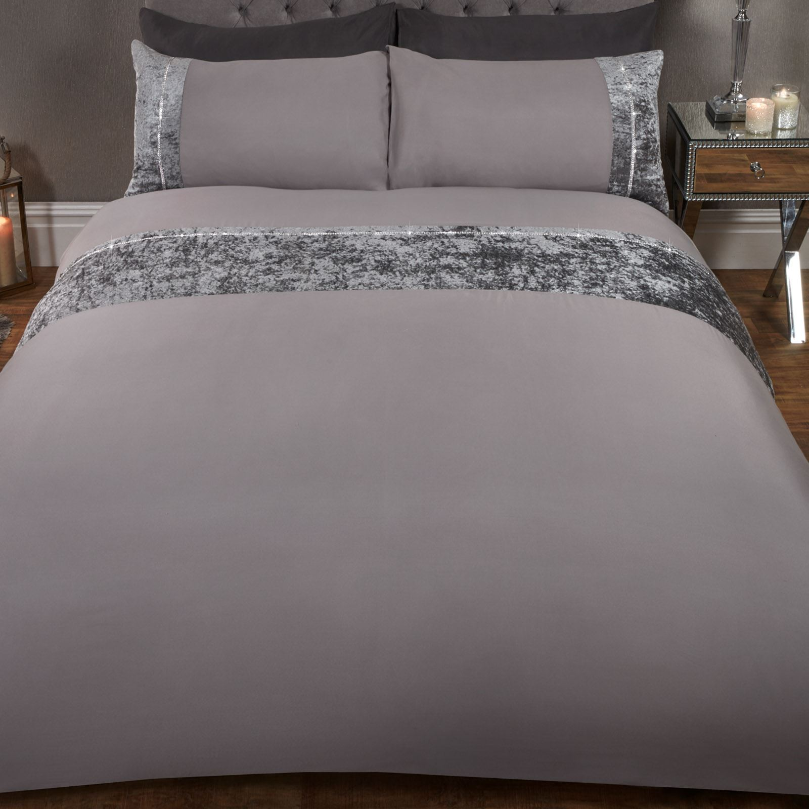 Sienna-Crushed-Velvet-Diamante-Band-Duvet-Cover-with-Pillowcase-Grey-Bedding-Set thumbnail 10