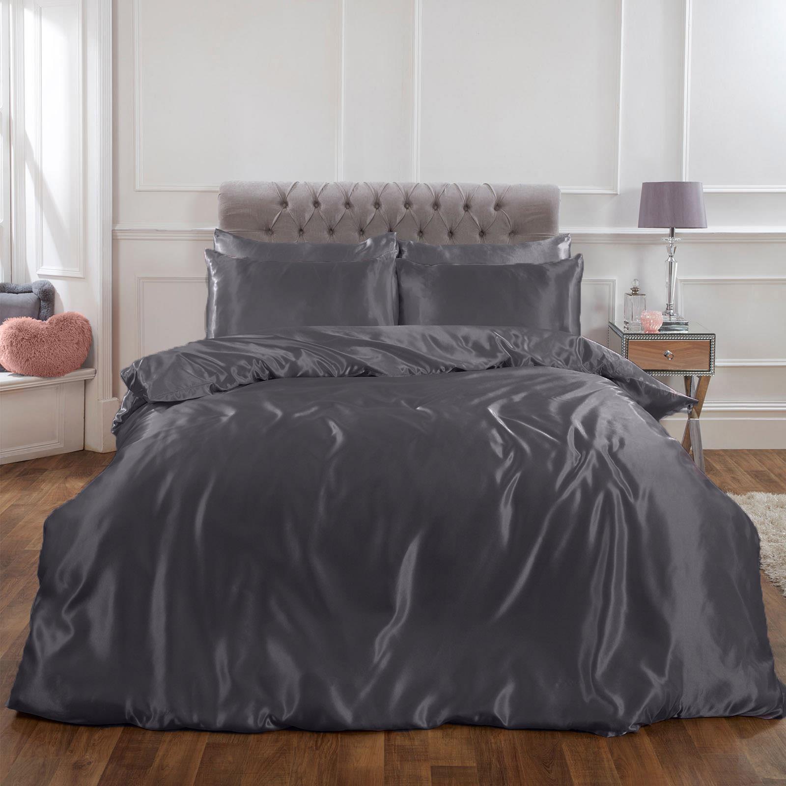 thumbnail 19 - Sienna Satin Silk Duvet Cover with Pillowcases Bedding Set, Blush Pink Silver