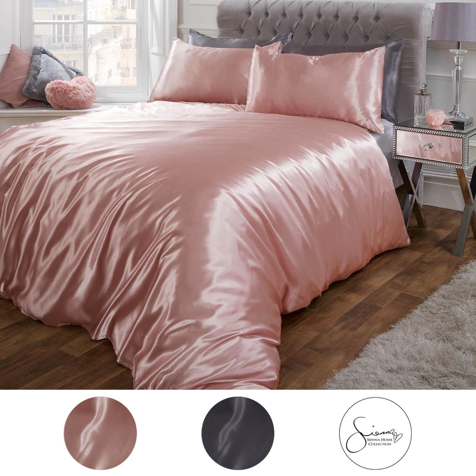 Sienna Satin Silk Duvet Cover With Pillowcases Bedding Set Blush Pink Silver Ebay