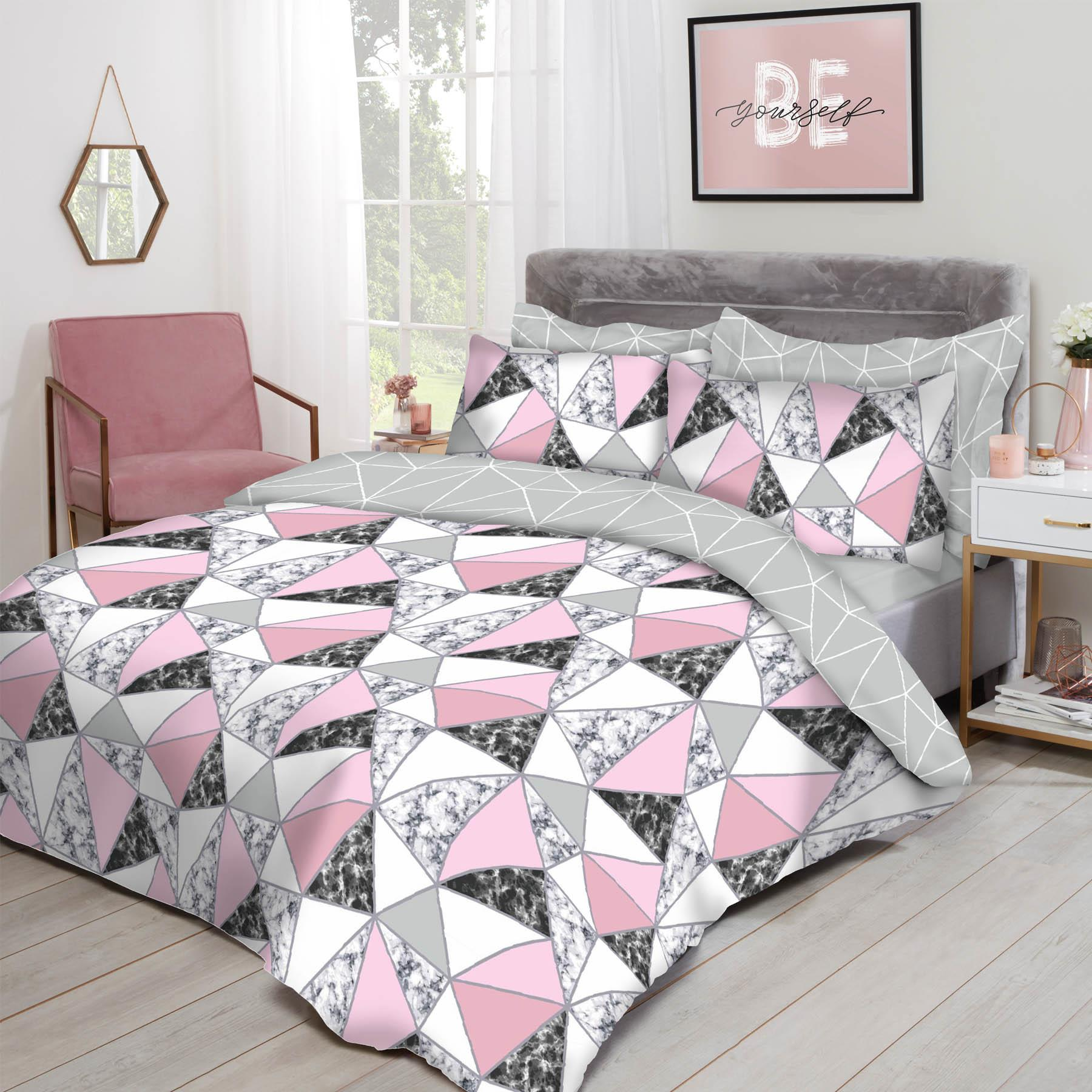thumbnail 3 - Dreamscene Marble Geometric Duvet Cover with Pillowcase Bedding Set Grey Blush