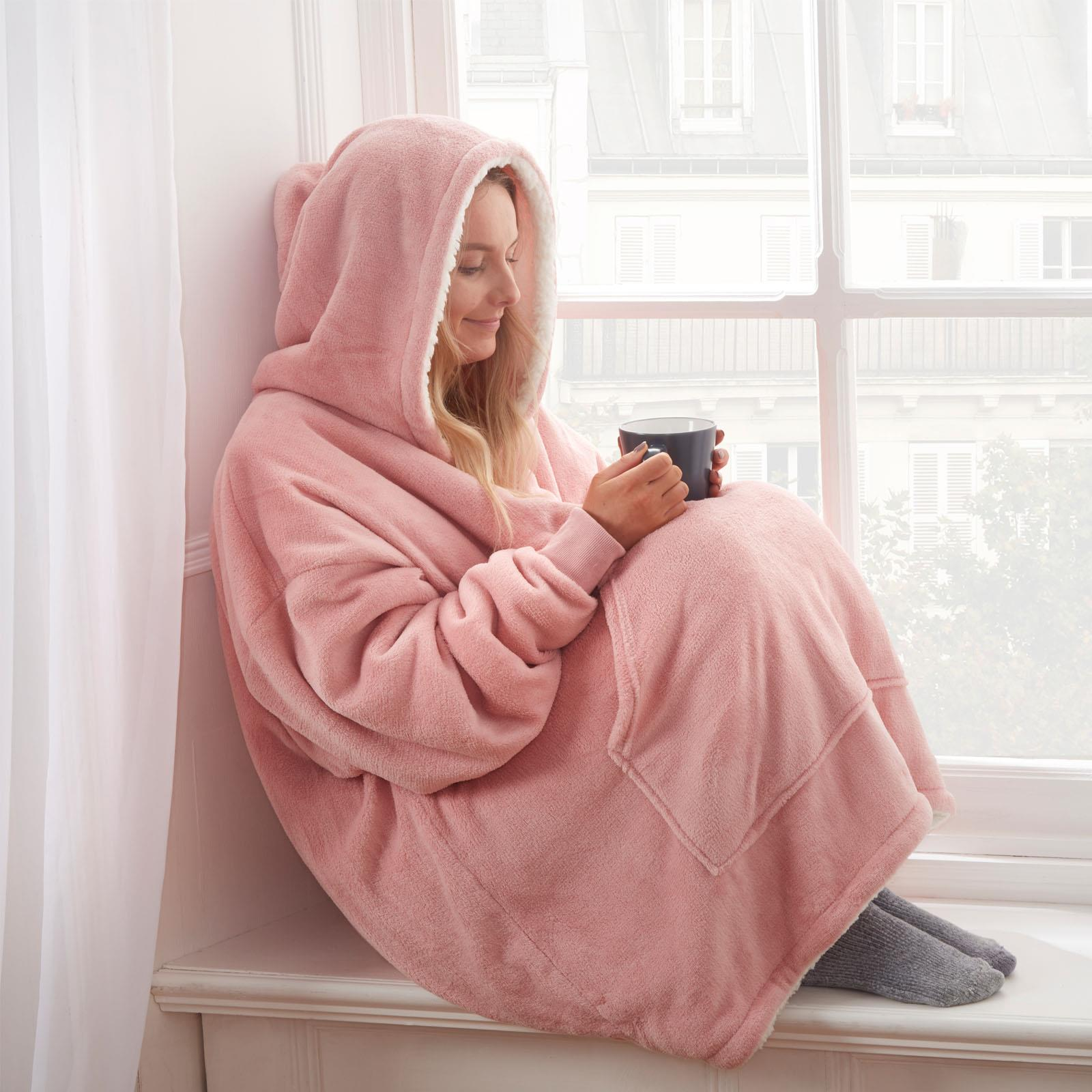 Sienna-Hoodie-Blanket-Oversized-Ultra-Plush-Sherpa-Giant-Big-Hooded-Sweatshirt thumbnail 7