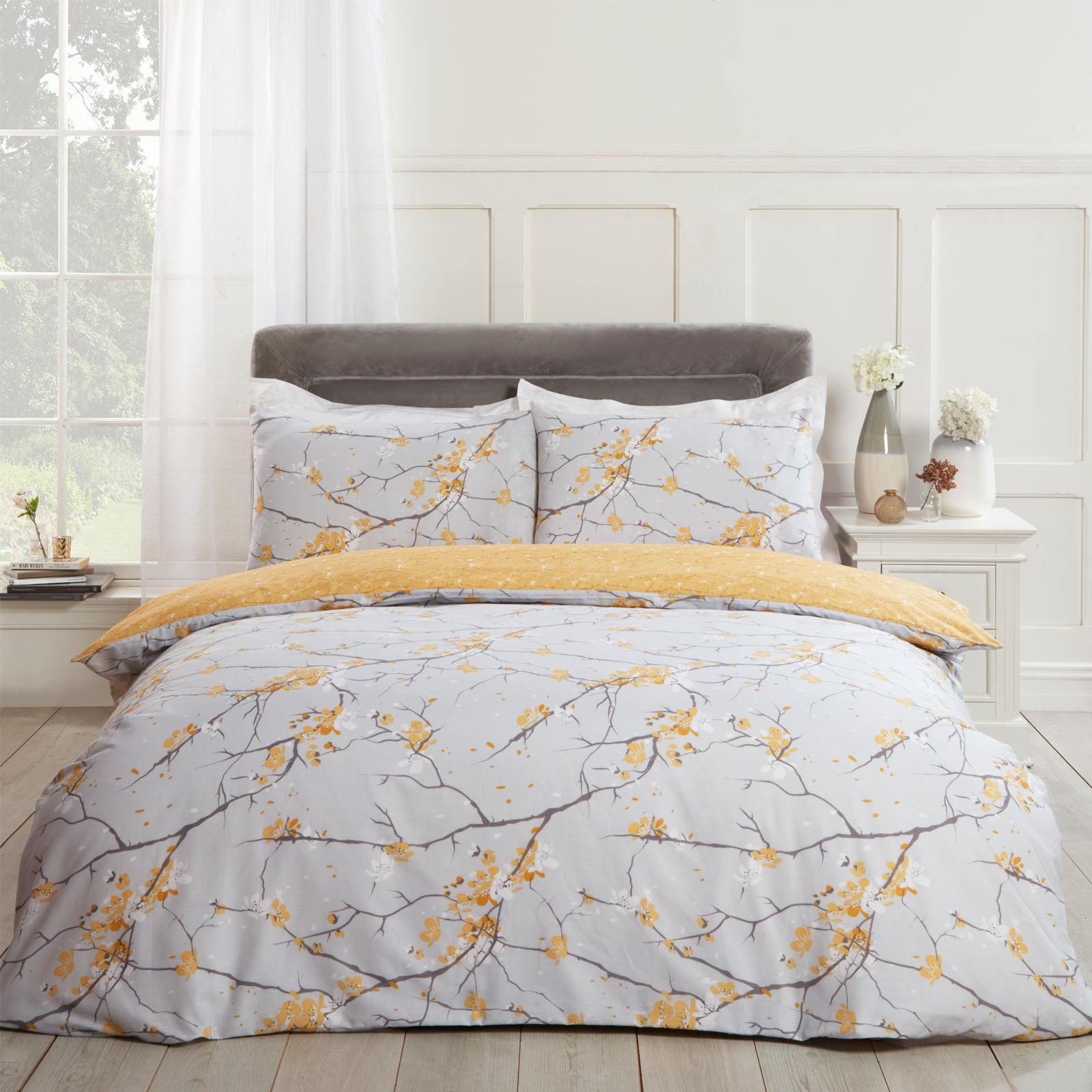 thumbnail 25 - Dreamscene Spring Blossoms Duvet Cover with Pillowcases Bedding Set Blush Ochre