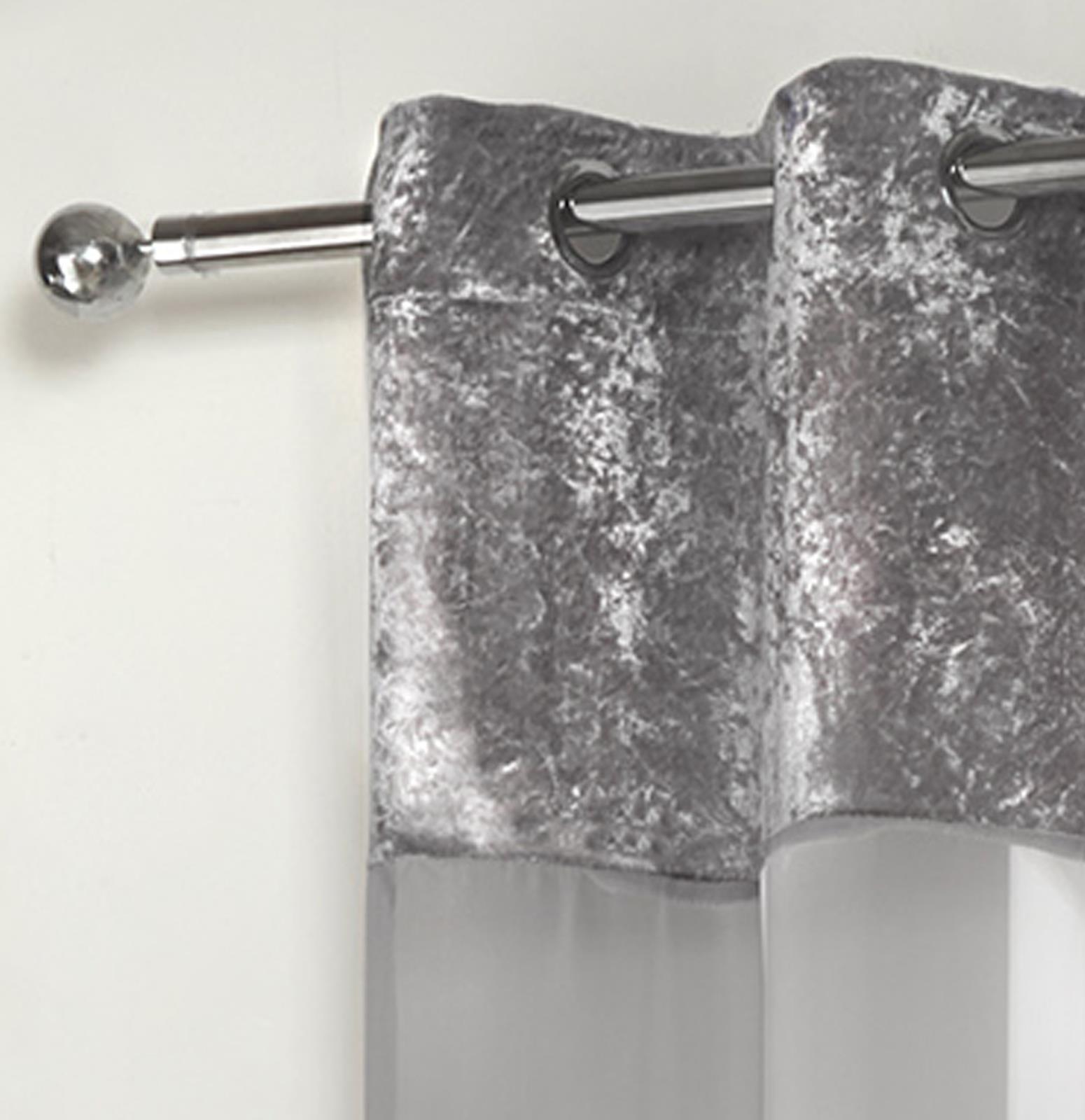 Sienna-Crushed-Velvet-Voile-PAIR-of-Net-Eyelet-Ring-Top-Curtains-Blush-Silver thumbnail 19