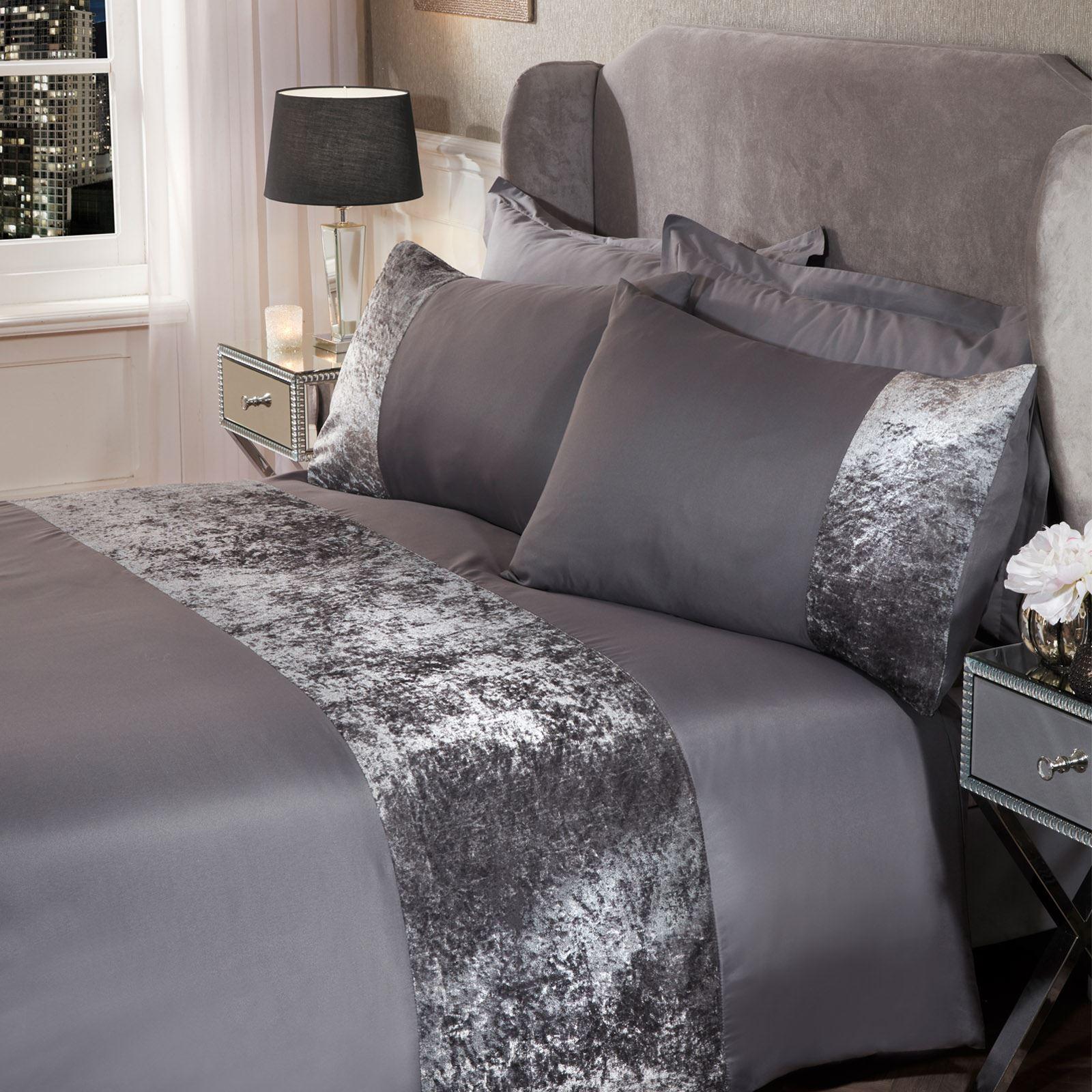 thumbnail 30 - Sienna Crushed Velvet Panel Duvet Cover with Pillow Case Bedding Set Silver Grey