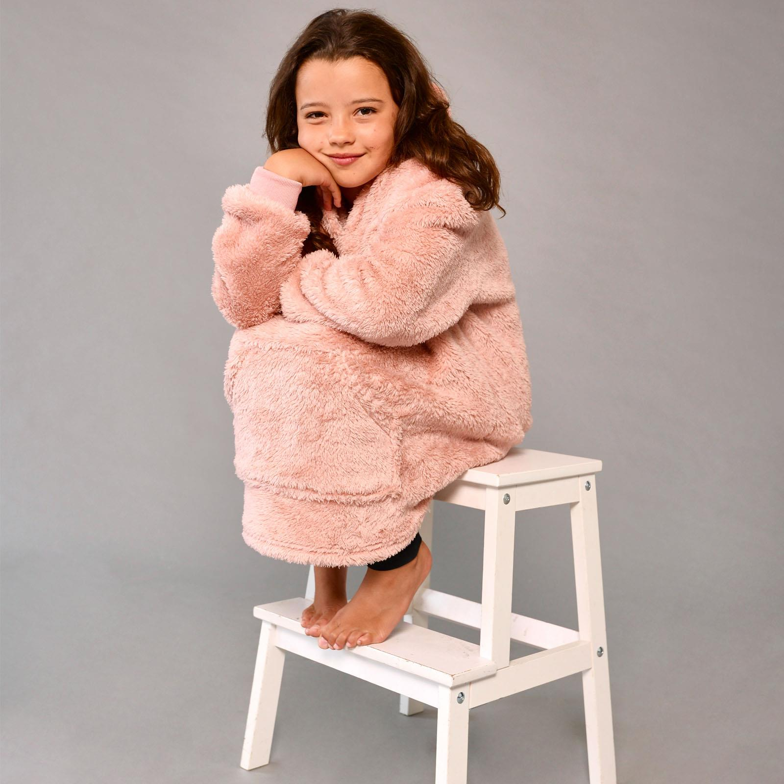 thumbnail 10 - Brentfords-Teddy-Fleece-Hoodie-Blanket-Oversized-Giant-Wearable-Adults-Kids-UK