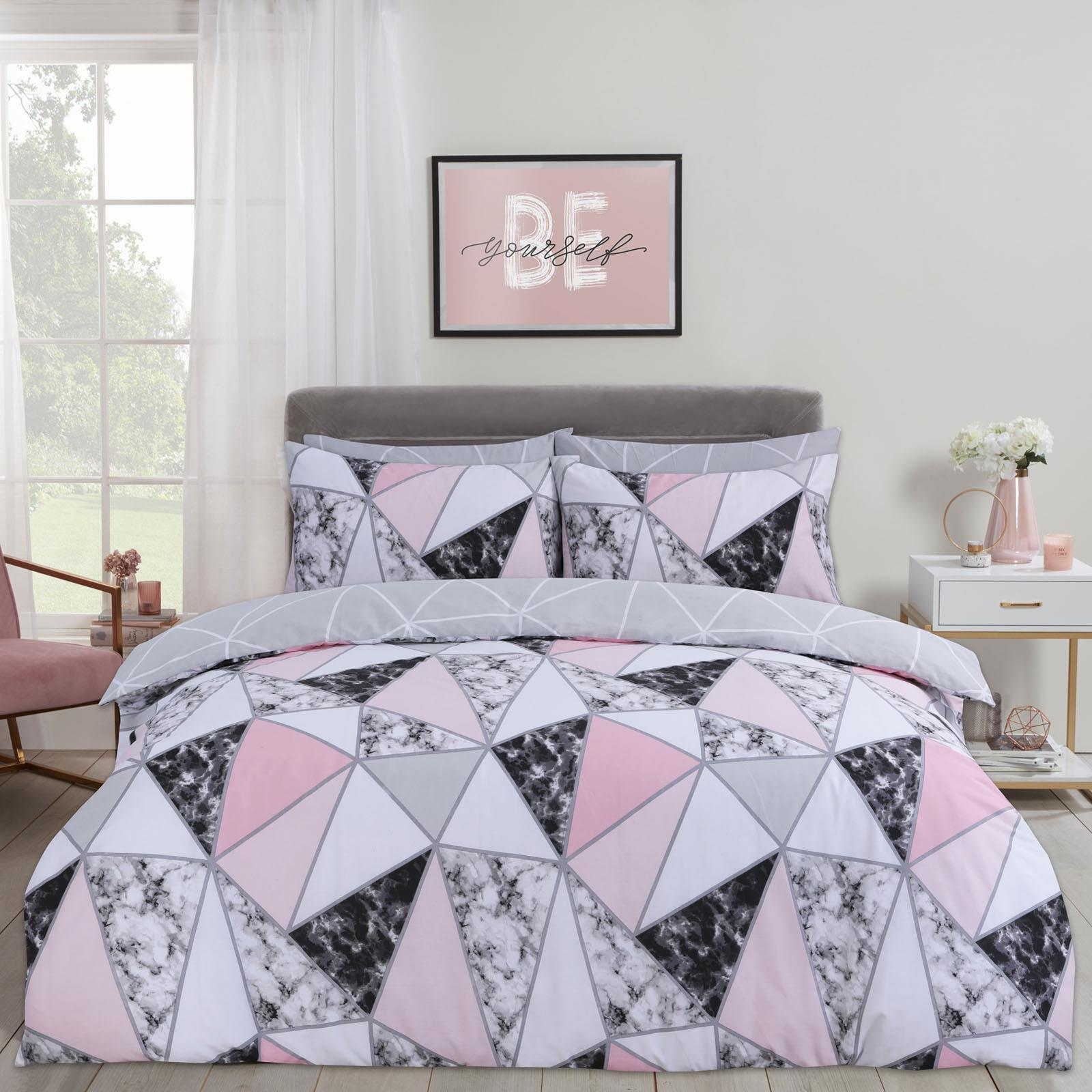 thumbnail 2 - Dreamscene Marble Geometric Duvet Cover with Pillowcase Bedding Set Grey Blush