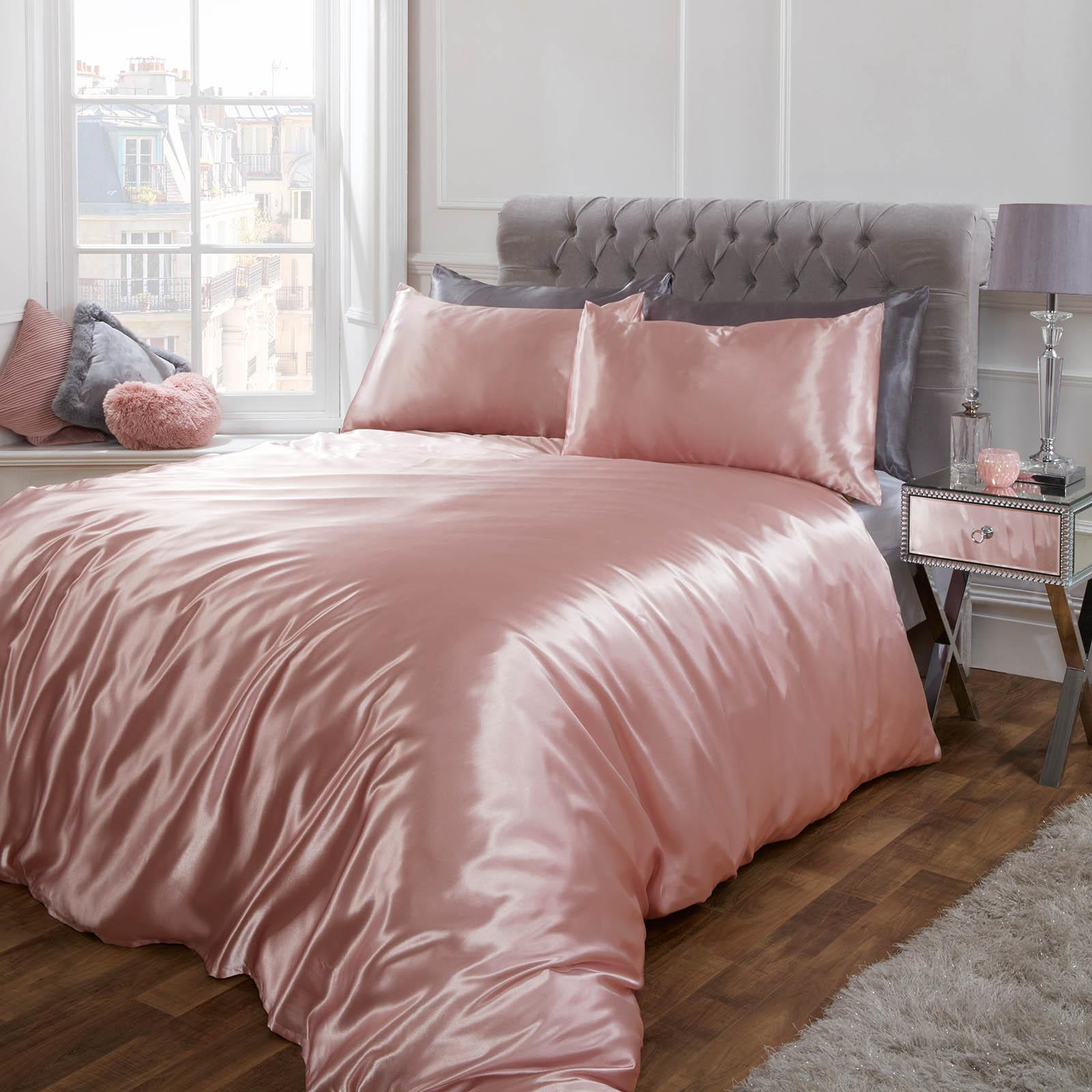 thumbnail 5 - Sienna Satin Silk Duvet Cover with Pillowcases Bedding Set, Blush Pink Silver