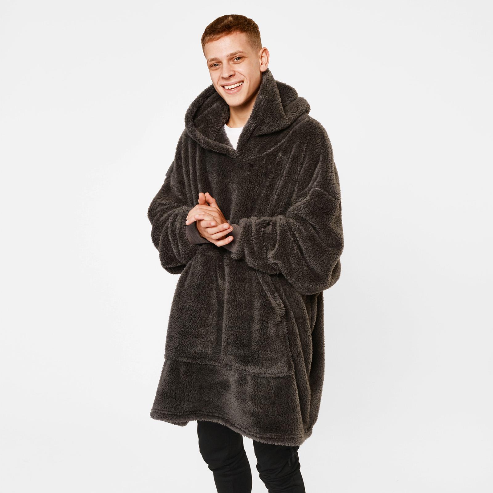 thumbnail 6 - Brentfords-Teddy-Fleece-Hoodie-Blanket-Oversized-Giant-Wearable-Adults-Kids-UK