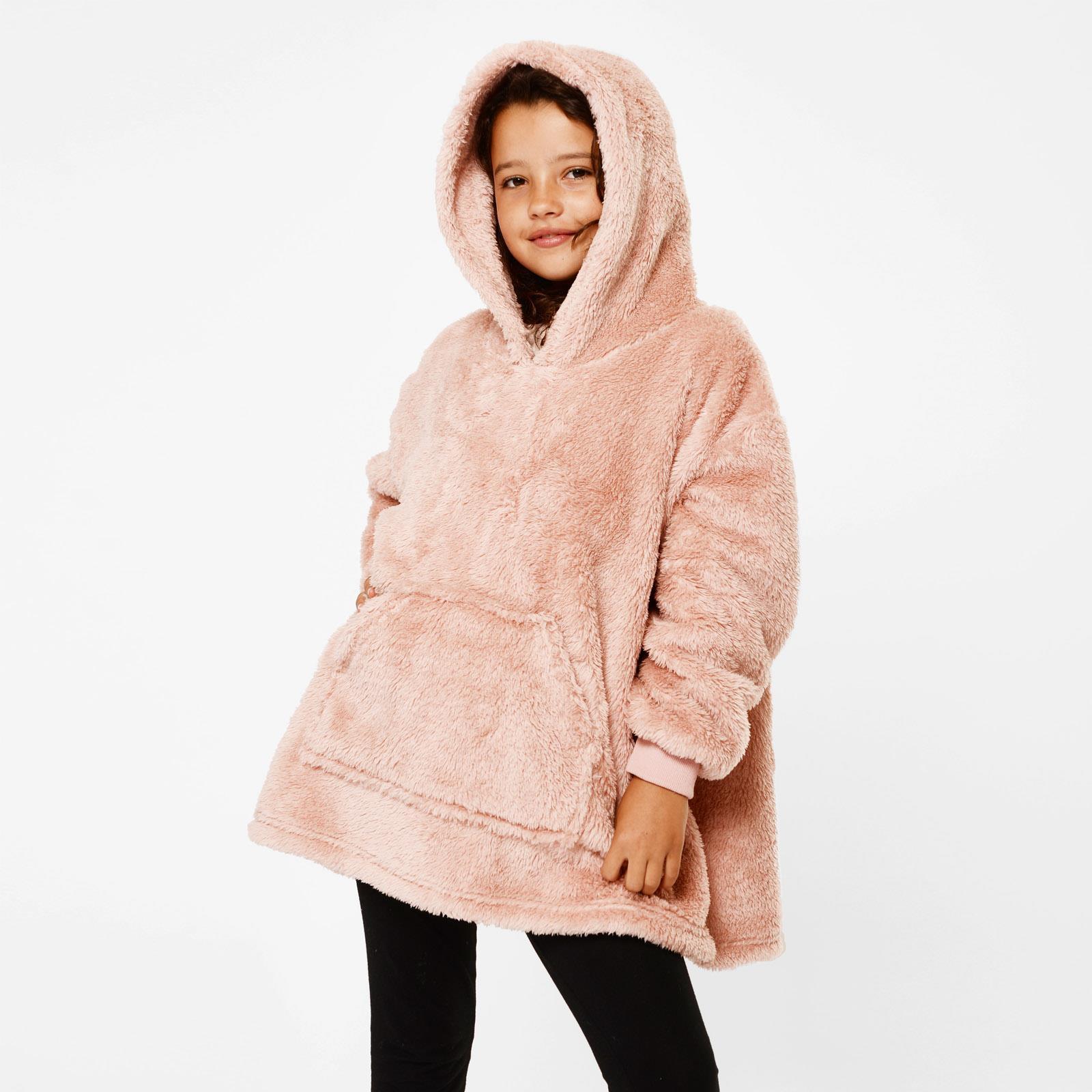 thumbnail 15 - Brentfords-Teddy-Fleece-Hoodie-Blanket-Oversized-Giant-Wearable-Adults-Kids-UK