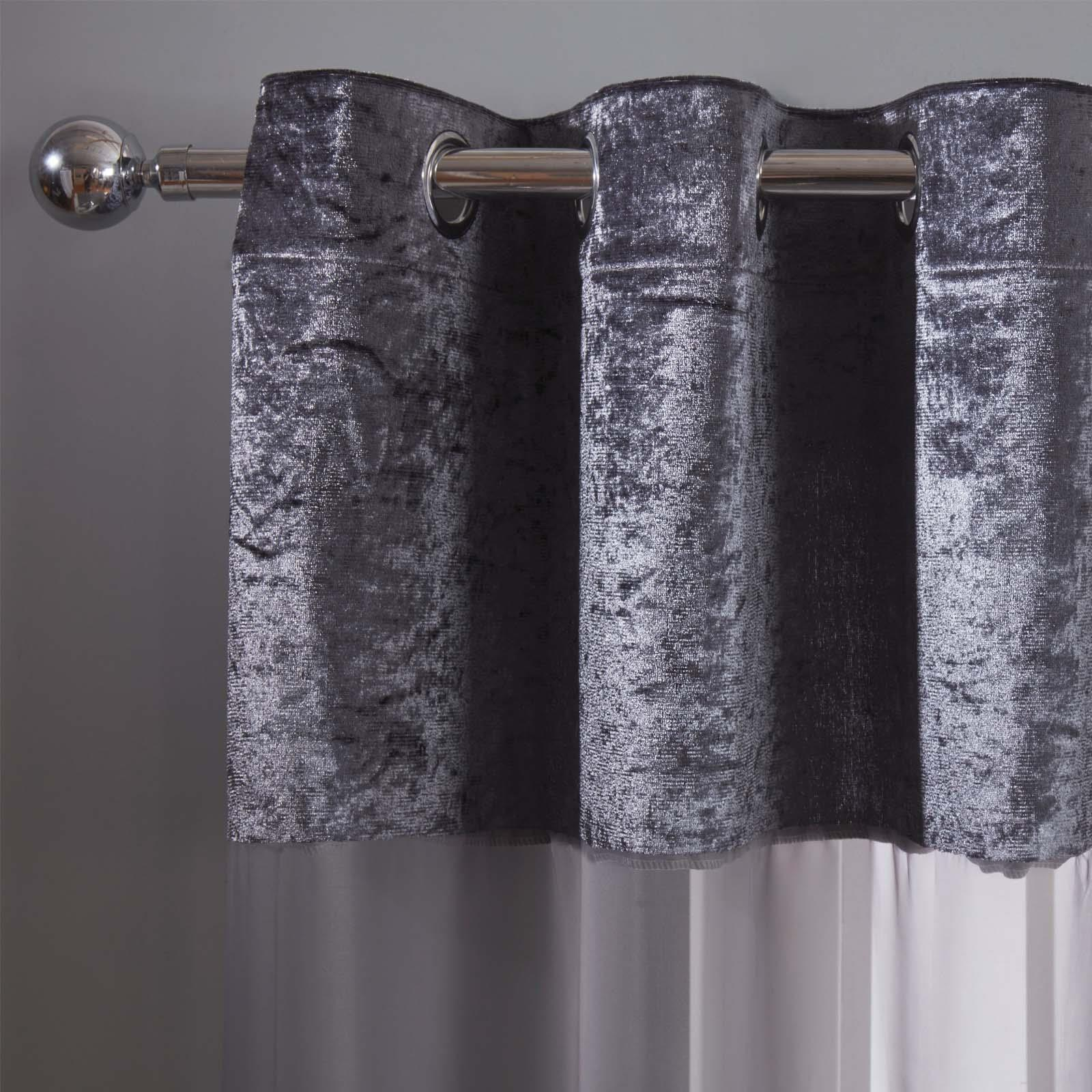 Sienna-Crushed-Velvet-Voile-PAIR-of-Net-Eyelet-Ring-Top-Curtains-Blush-Silver thumbnail 10