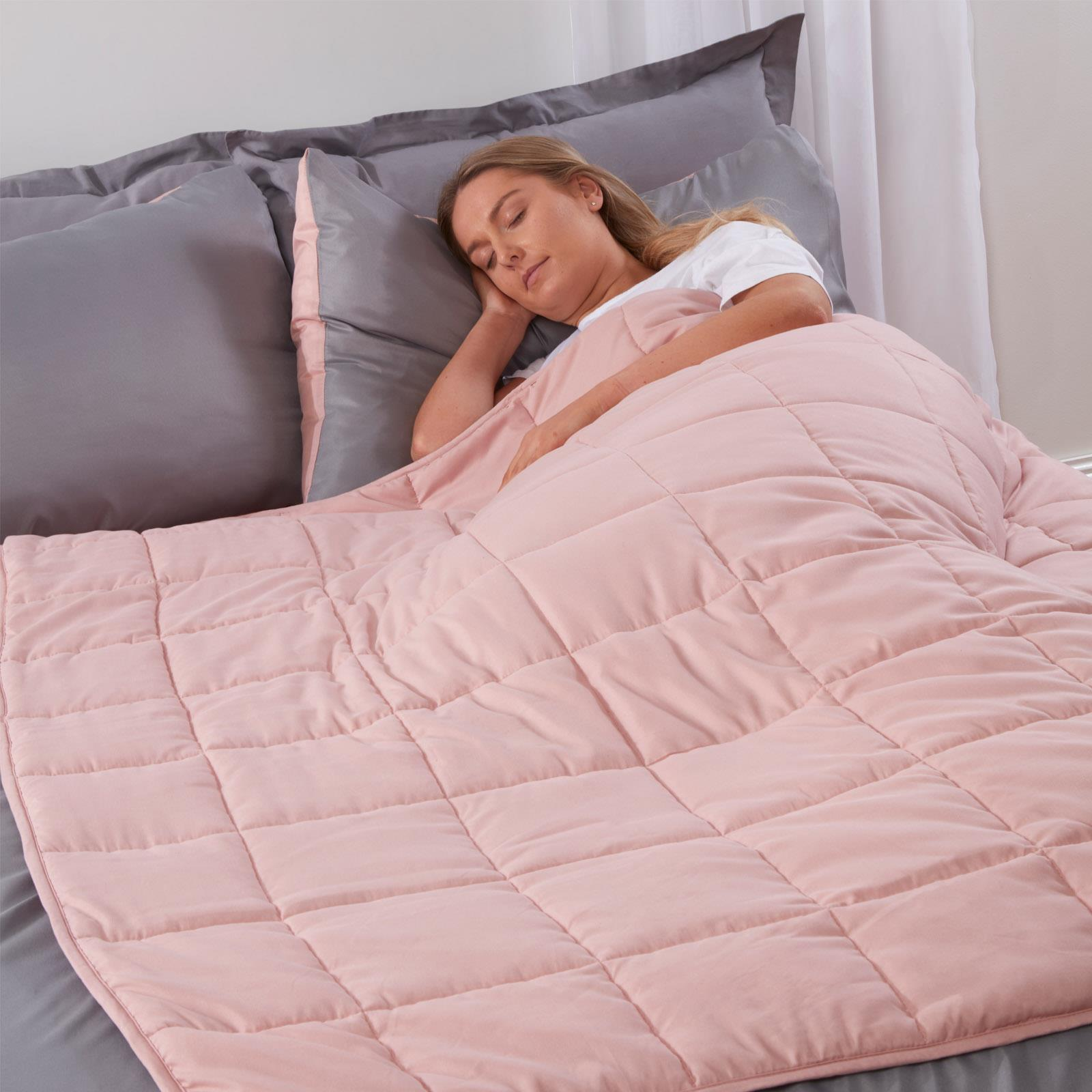 Brentfords-Weighted-Blanket-Sensory-Sleep-Therapy-Anxiety-Kids-Adults-Blush-Grey thumbnail 6