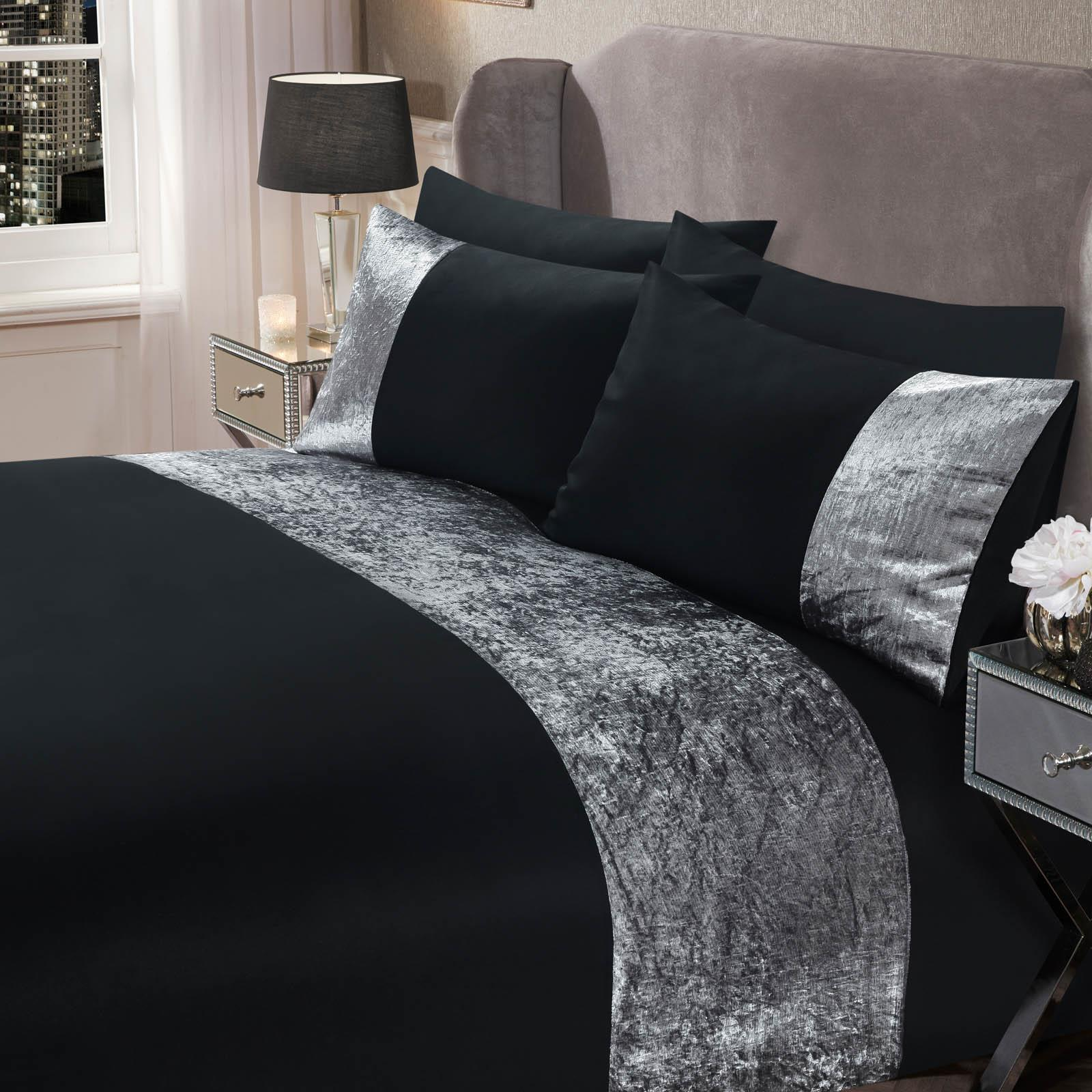 thumbnail 10 - Sienna Crushed Velvet Panel Duvet Cover with Pillow Case Bedding Set Silver Grey