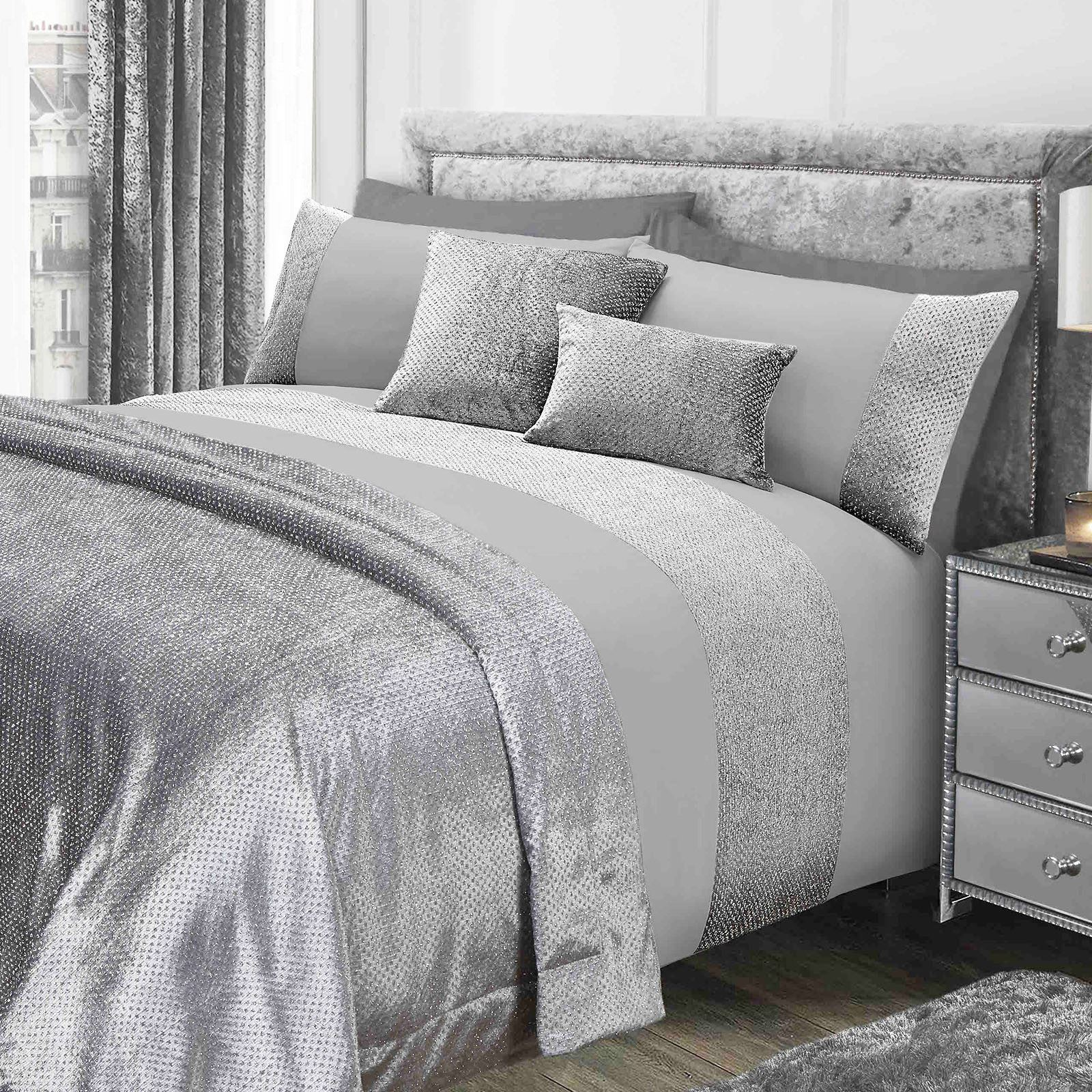 Sienna-Glitter-Duvet-Cover-with-Pillow-Case-Sparkle-Velvet-Bedding-Set-Grey-Pink thumbnail 14