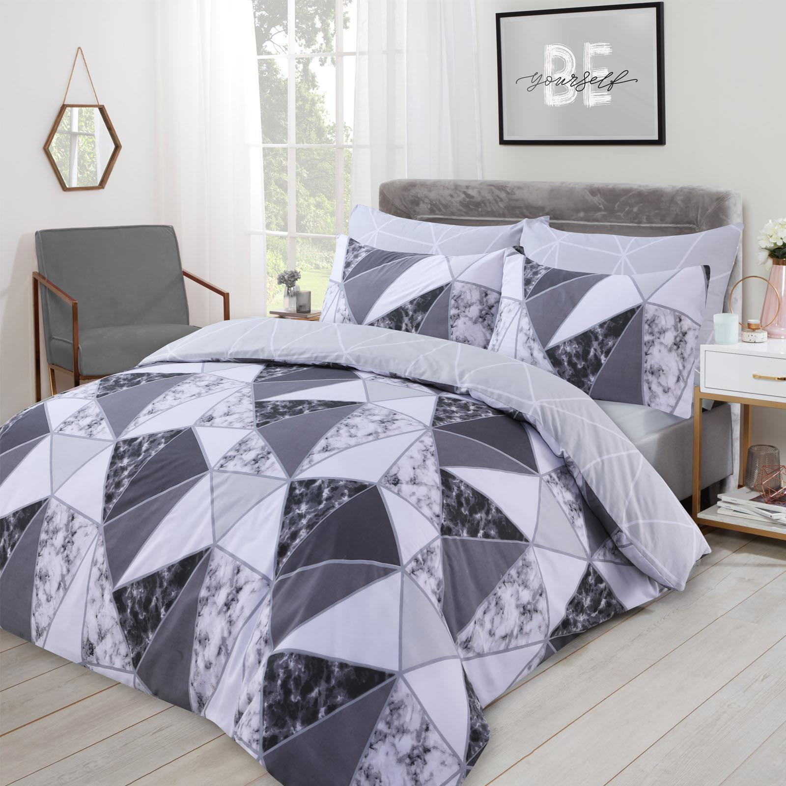 thumbnail 15 - Dreamscene Marble Geometric Duvet Cover with Pillowcase Bedding Set Grey Blush