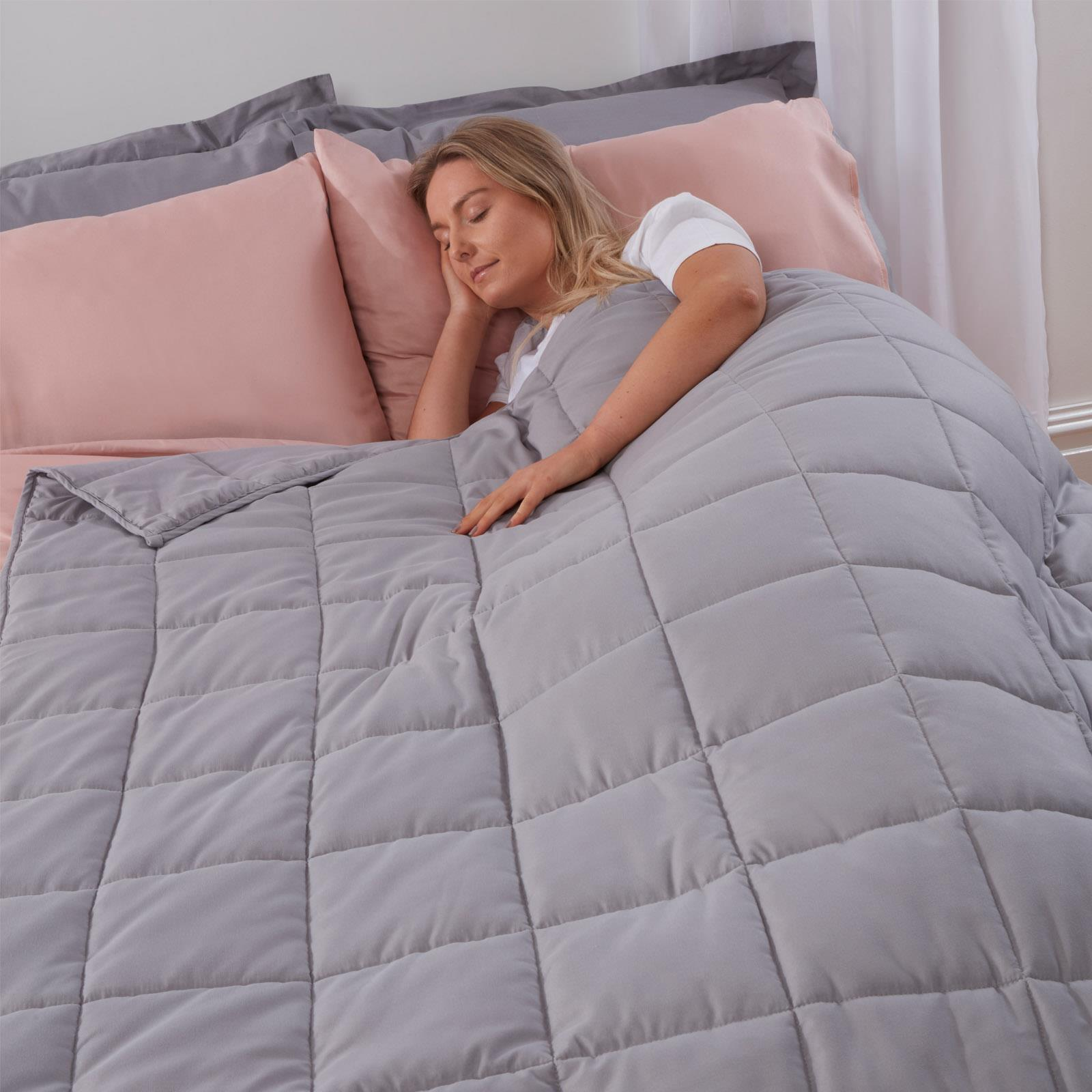 thumbnail 9 - Brentfords Weighted Blanket Sensory Sleep Therapy Anxiety Kids/Adults Blush Grey