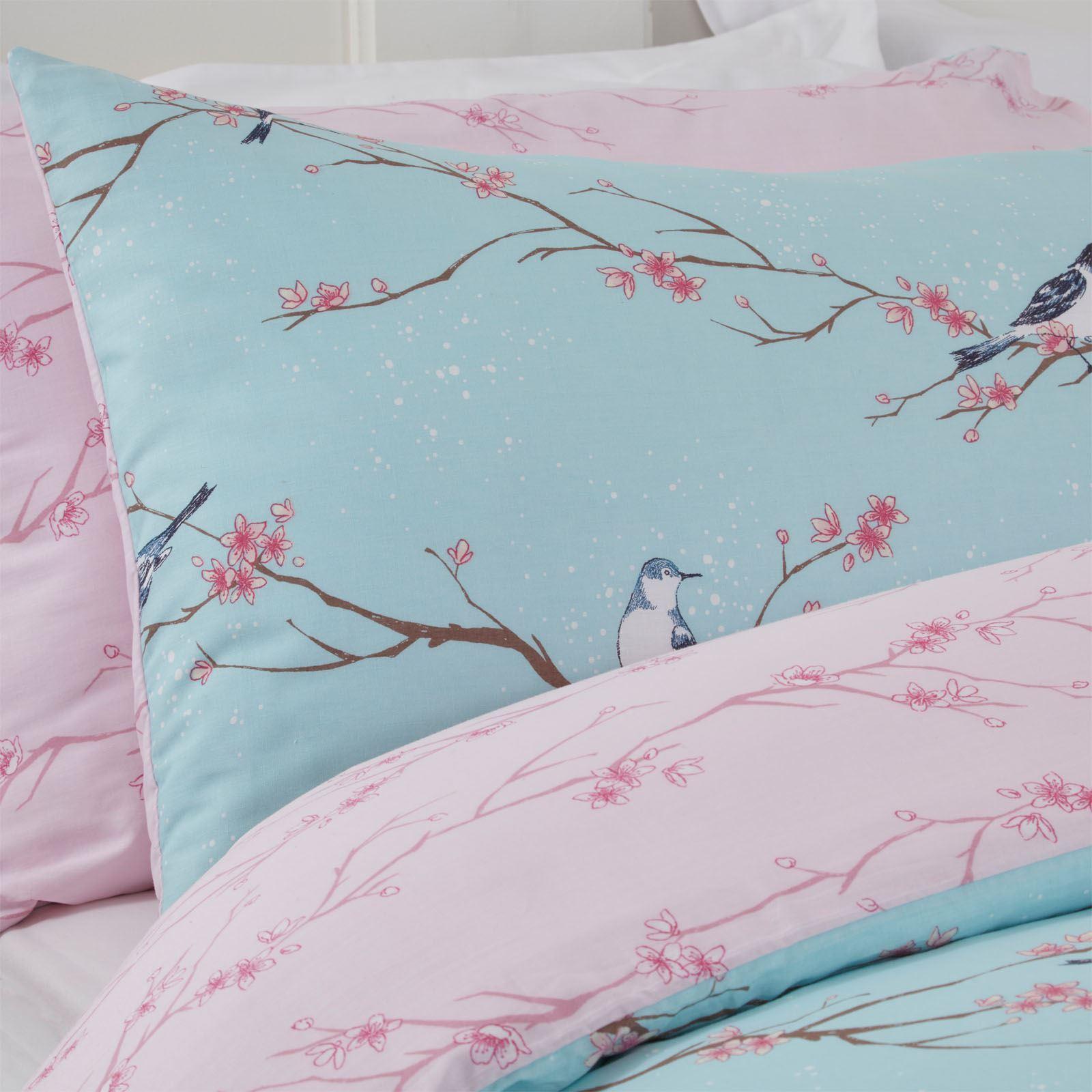 Dreamscene Blossom Bird Quilt Cover with Pillowcase Bedding Set Grey Blush Ochre