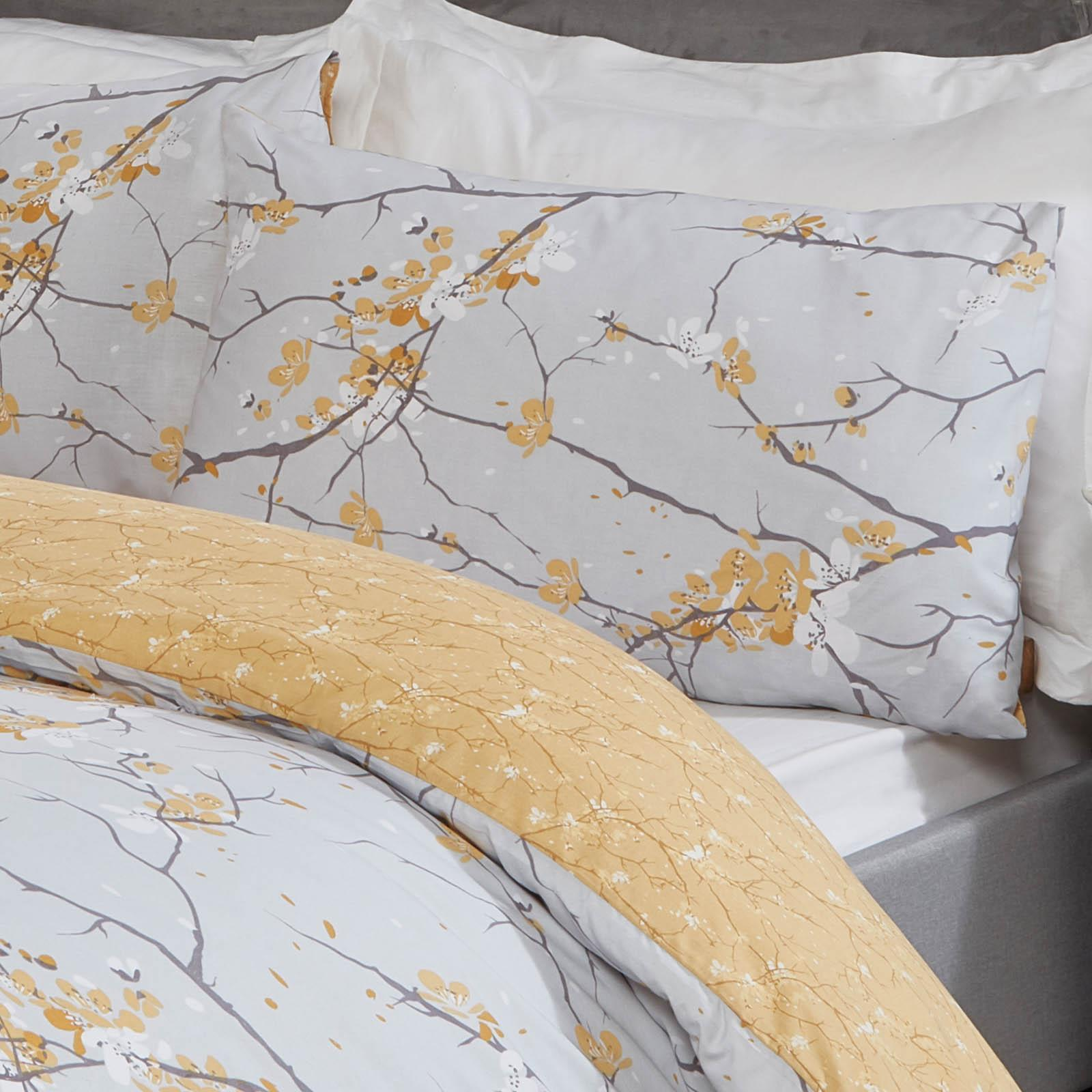 thumbnail 15 - Dreamscene Spring Blossoms Duvet Cover with Pillowcases Bedding Set Blush Ochre