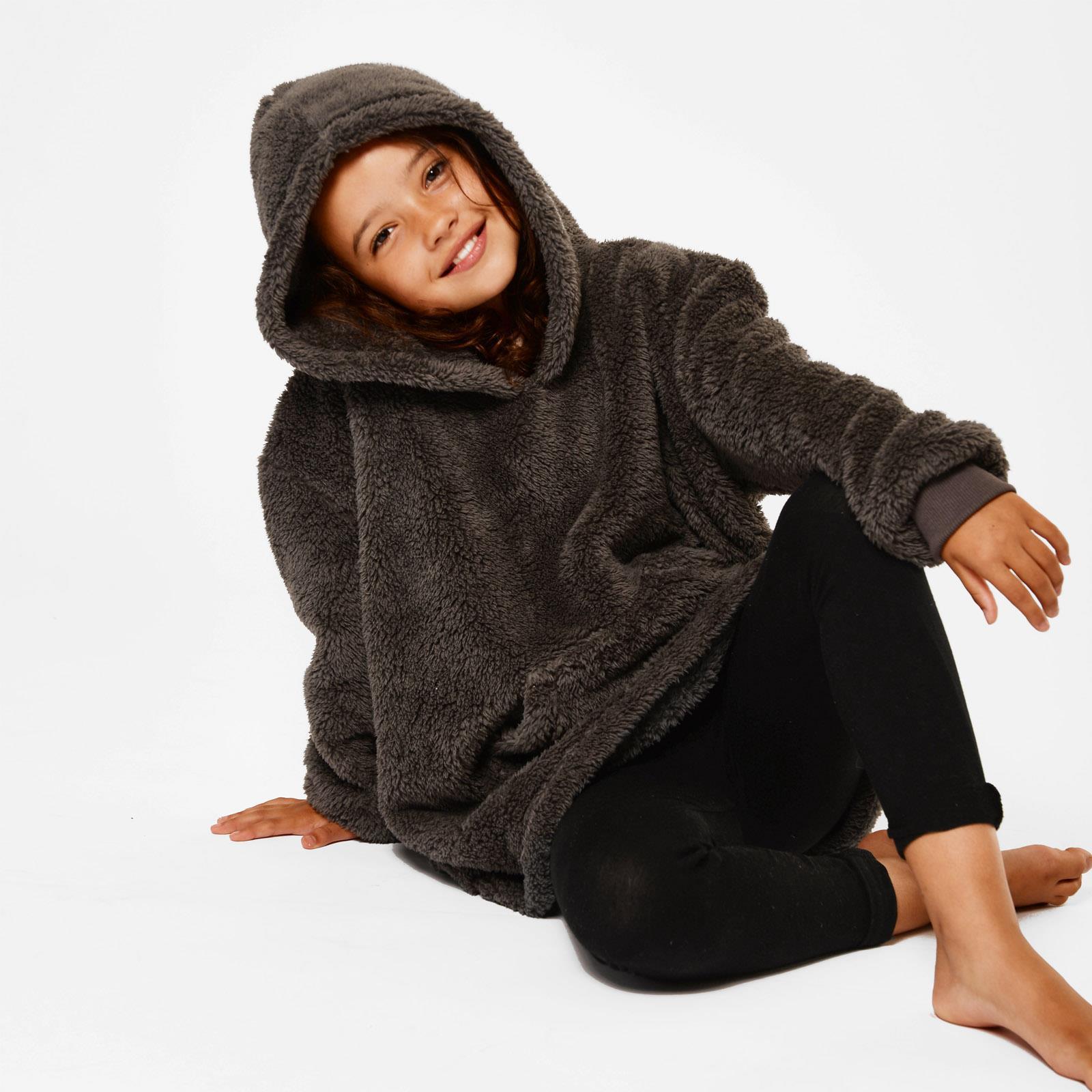 thumbnail 19 - Brentfords-Teddy-Fleece-Hoodie-Blanket-Oversized-Giant-Wearable-Adults-Kids-UK