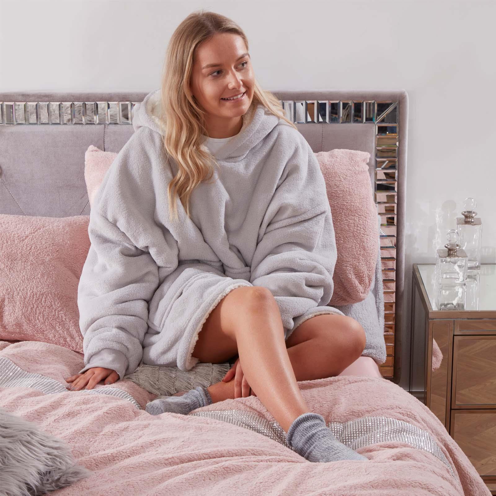Hoodie Blanket Oversized Ultra Plush Sherpa Giant Big Hooded Sweatshirt Soft UK